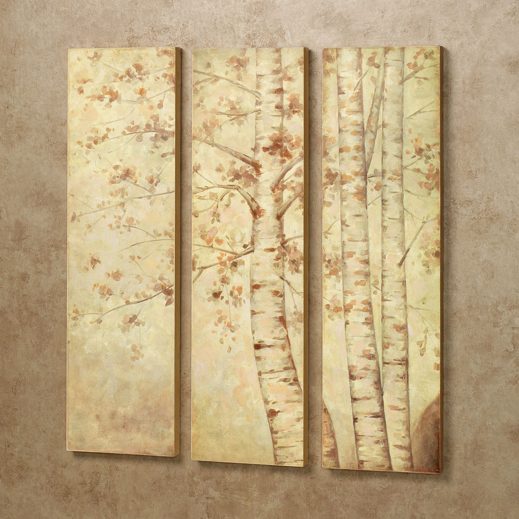 Fall Leaves Wooden Triptych Wall Art Set