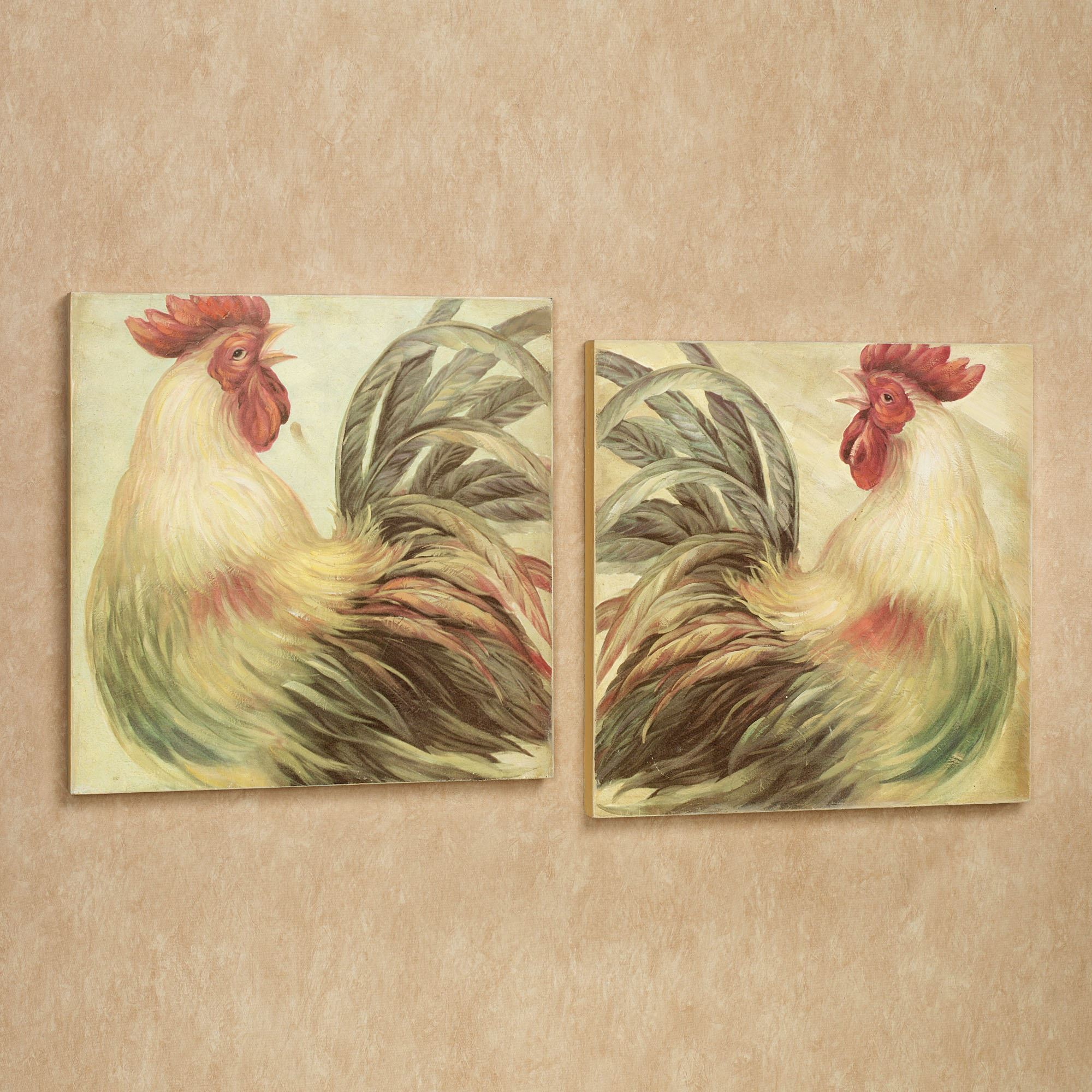 Rise and Shine Rooster Wall Art Plaque Set