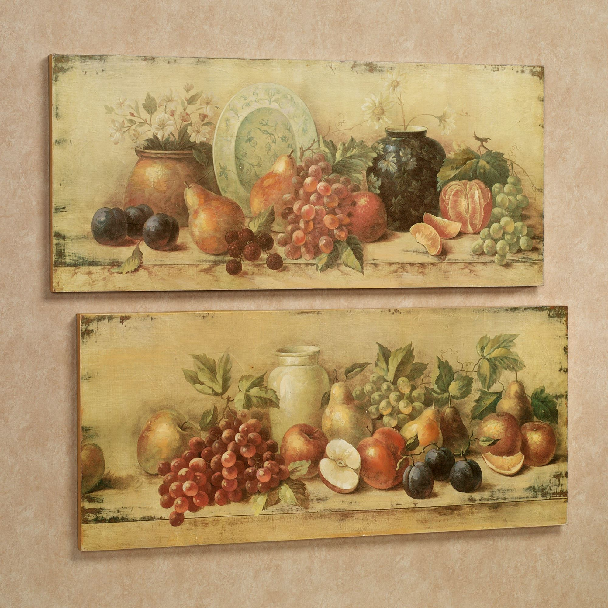 Bountiful Setting Fruit Wall Art Plaque Set