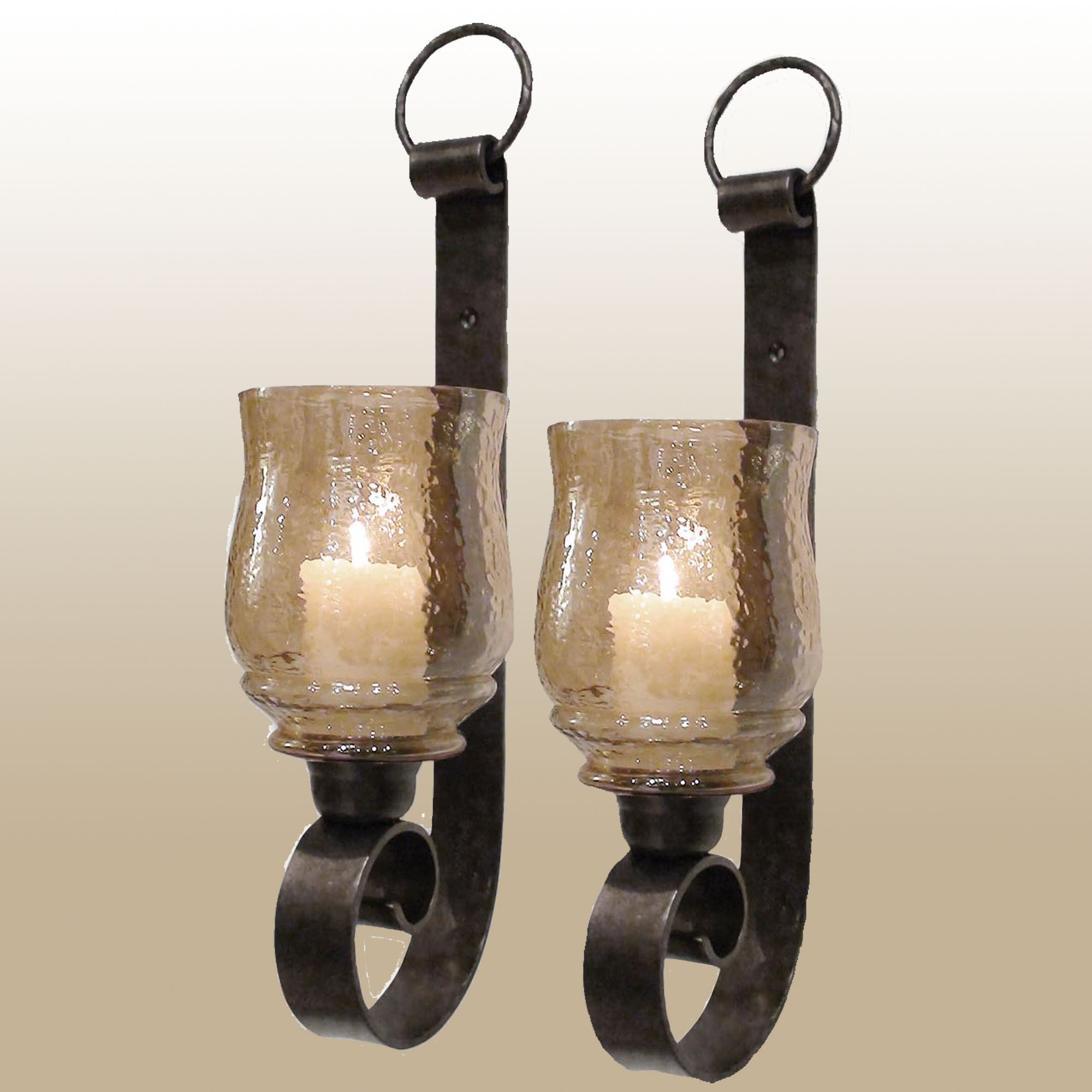 Dashielle Hurricane Wall Sconce Pair With Candles