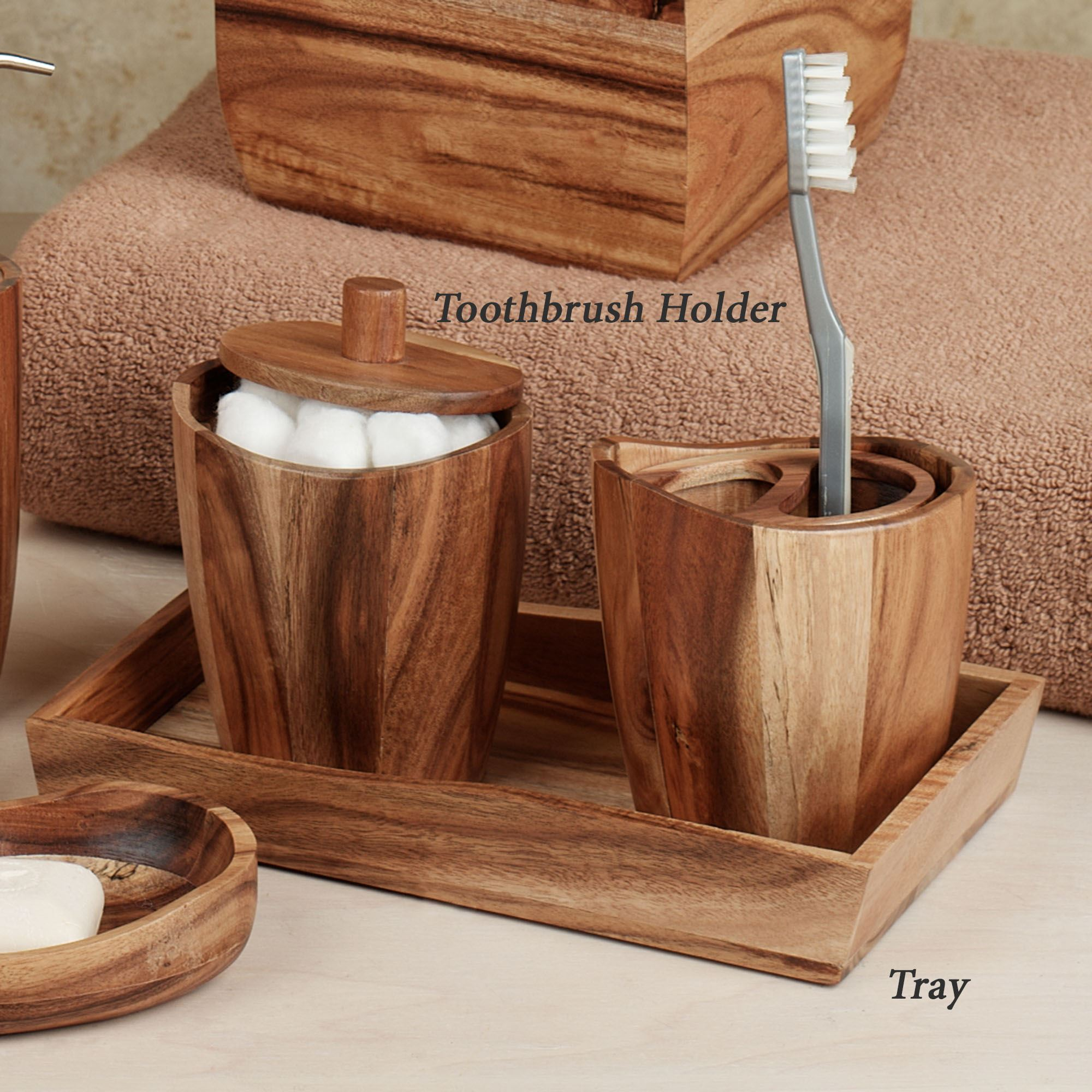 Wooden Kitchen Accessories ~ Acacia handcrafted wood bath accessories