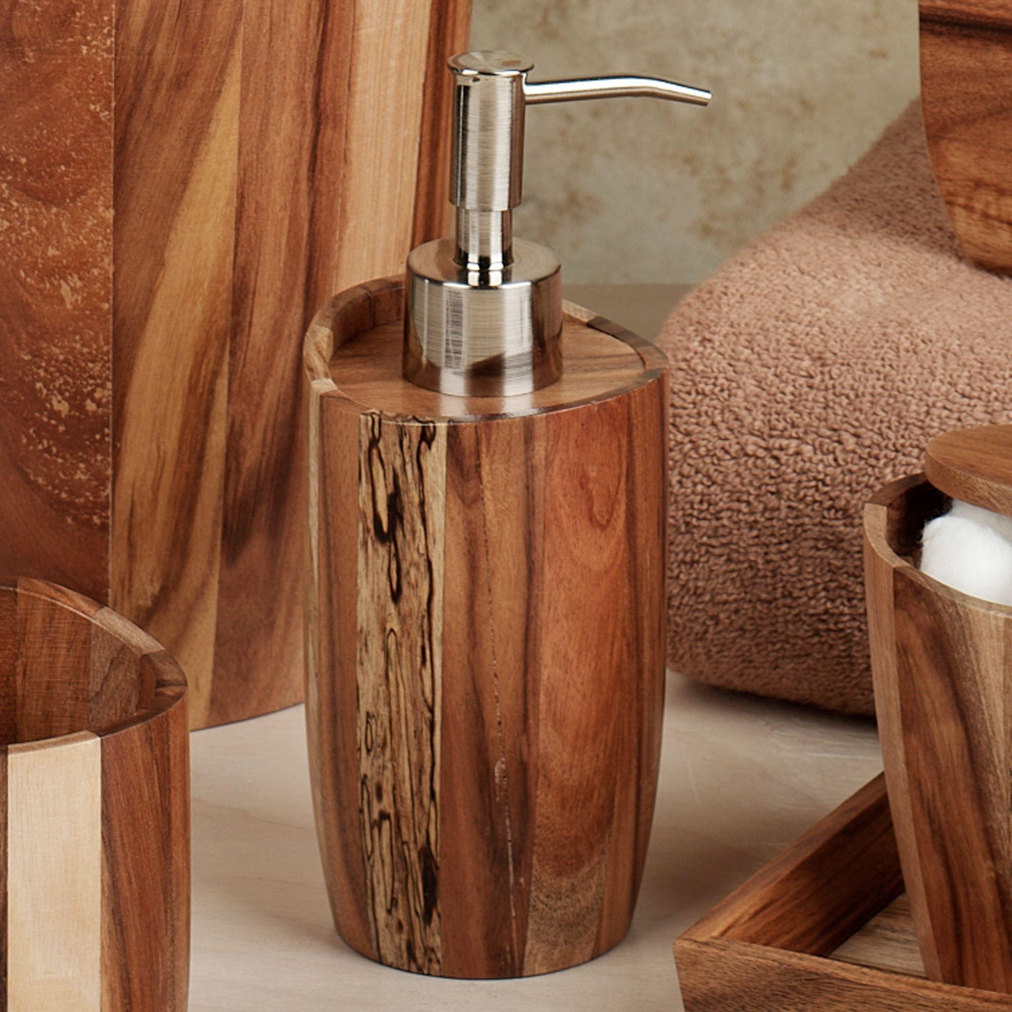 Acacia handcrafted wood bath accessories - Bathroom accessories soap dispenser ...
