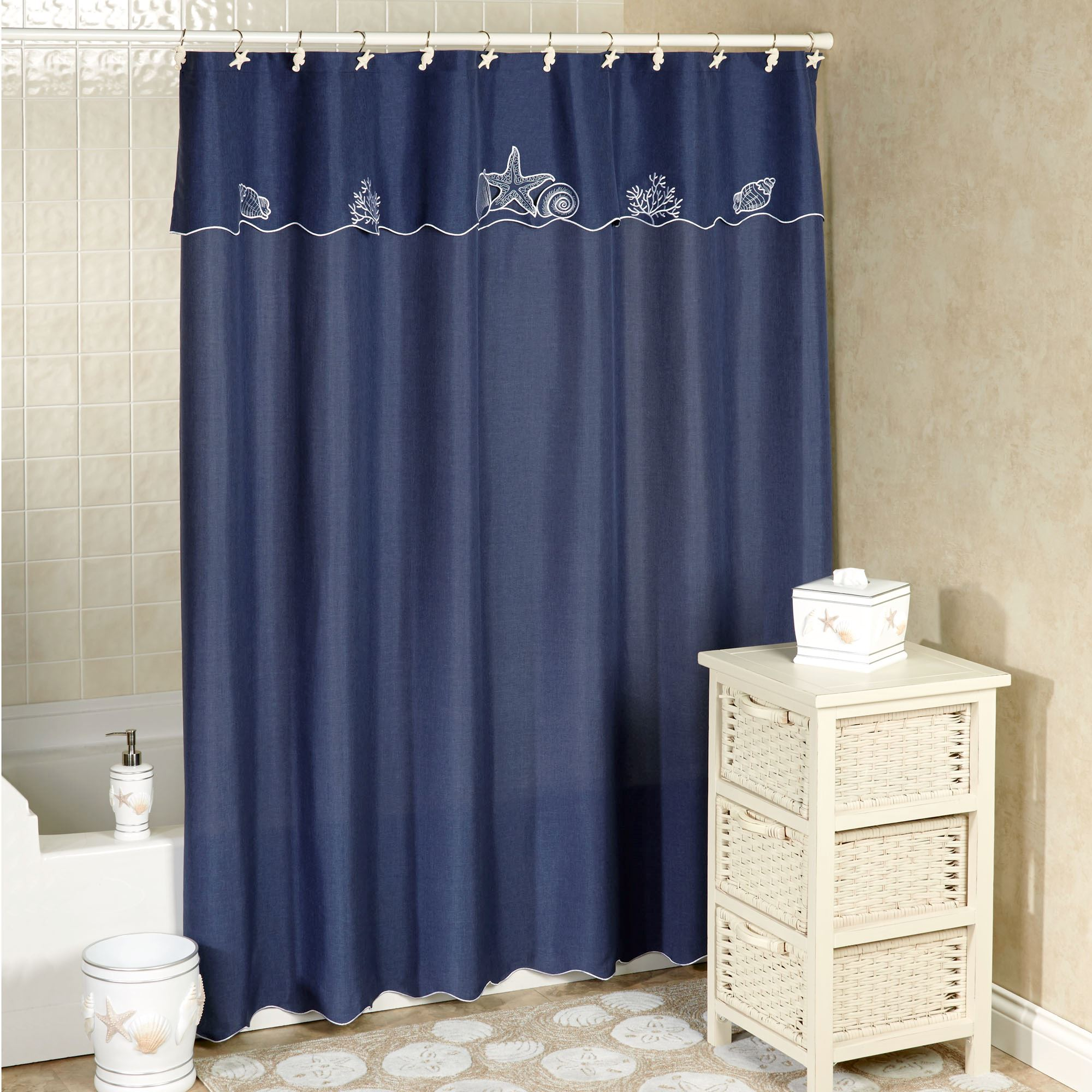 Sanibel Indigo Blue Coastal Shower Curtain