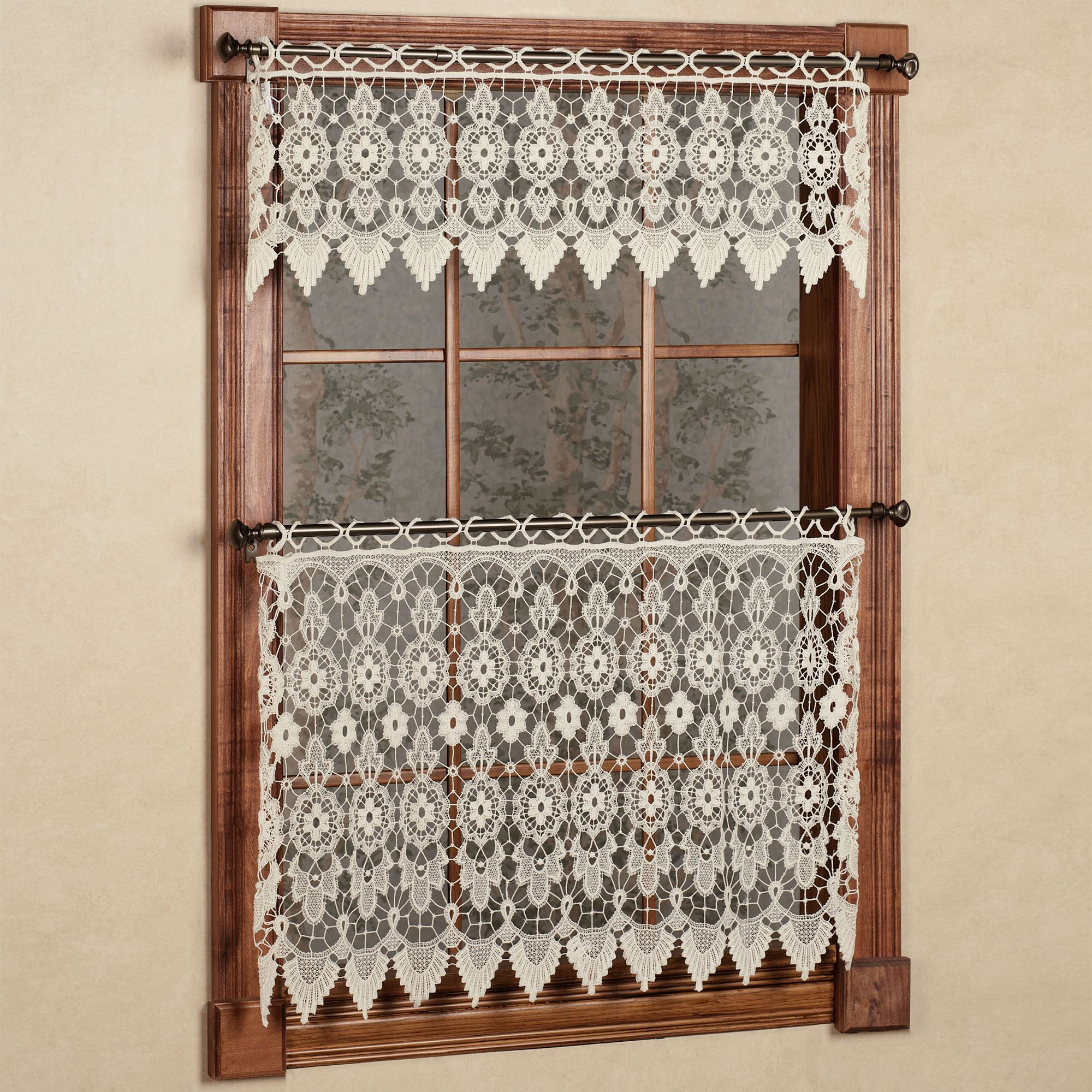 macrame window treatment medallion macrame lace tier window treatment 2764