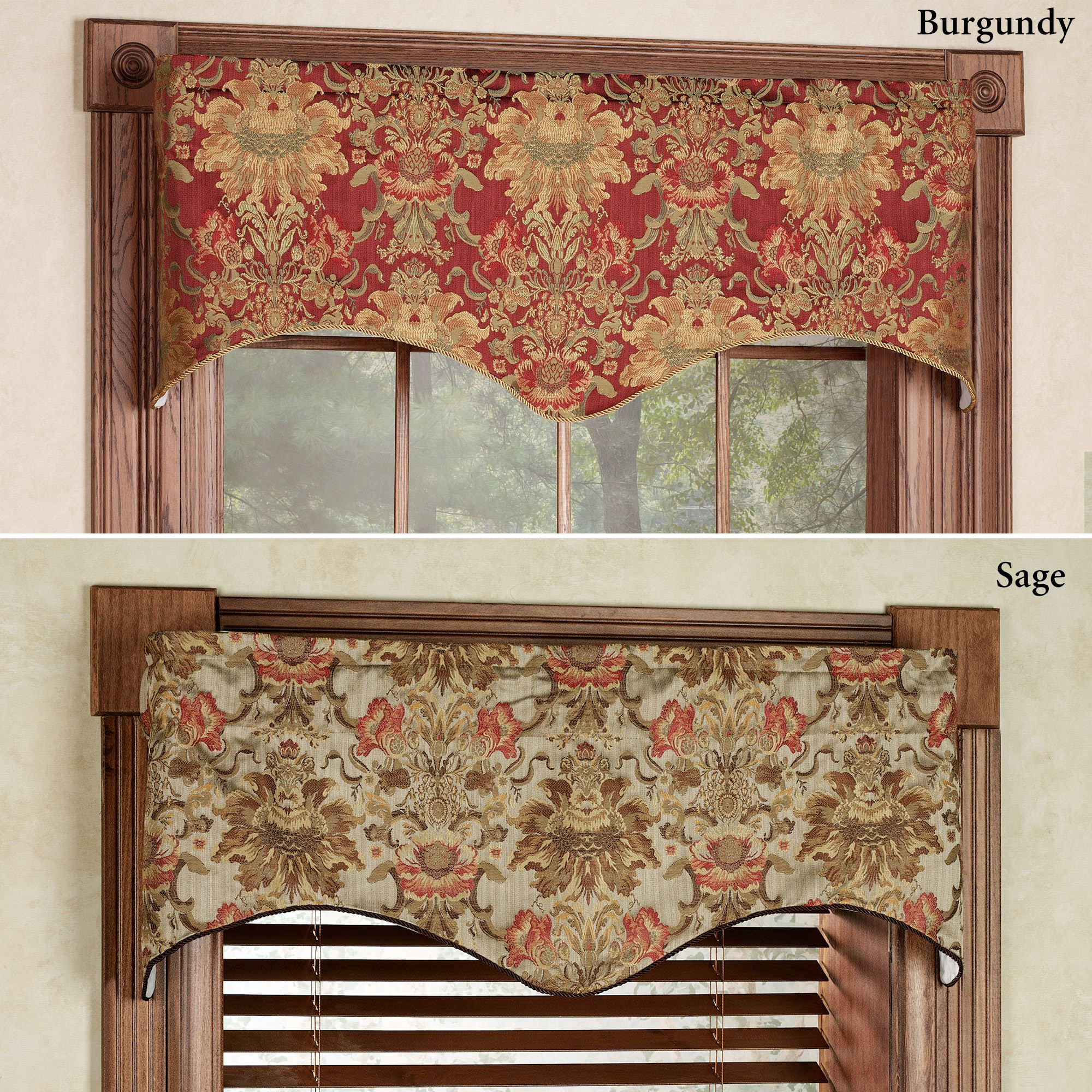 Como Tapestry Fabric Scalloped Window Valance