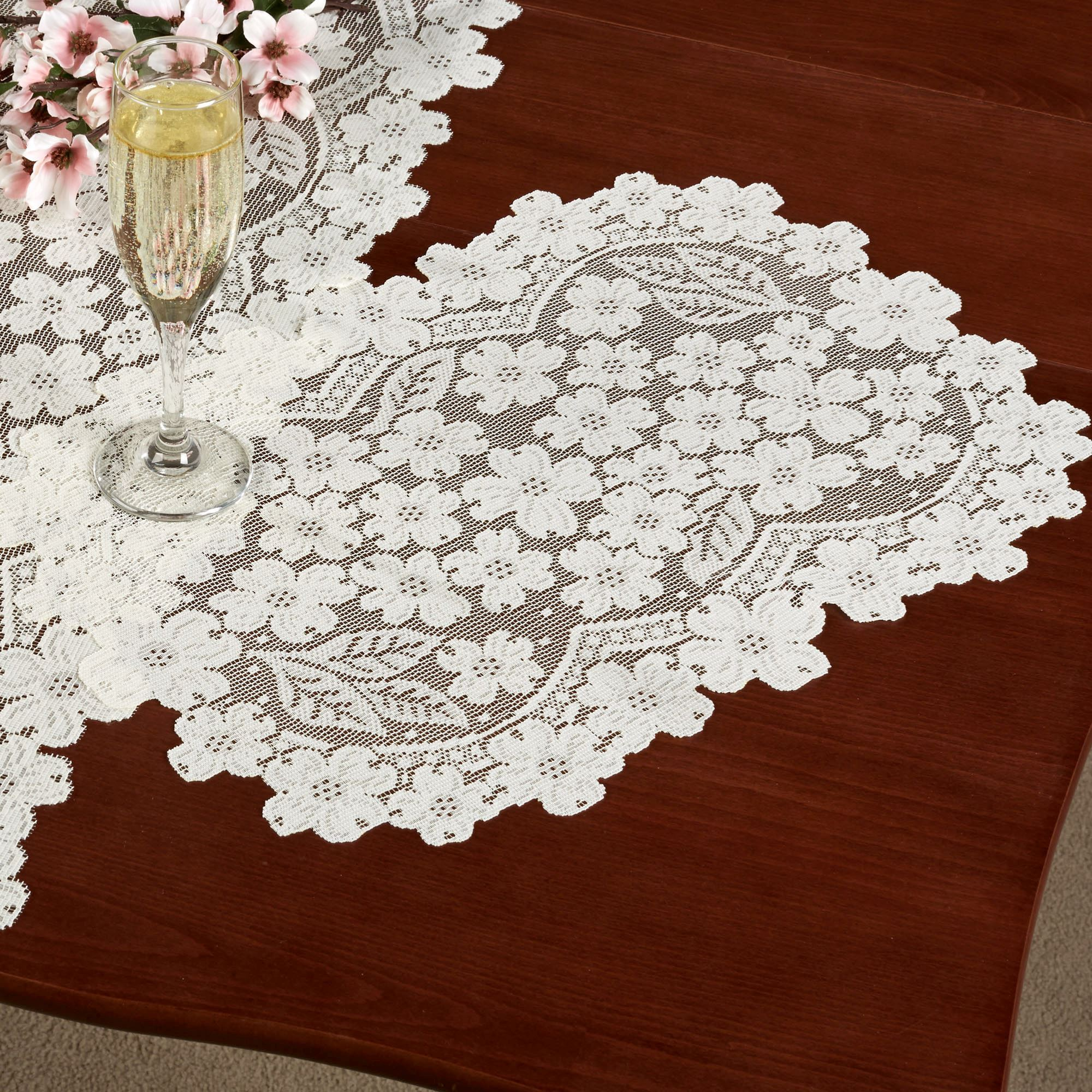 Dogwood Lace Placemat Set Set of Four  sc 1 st  Touch of Class & Dogwood Lace Table Runners