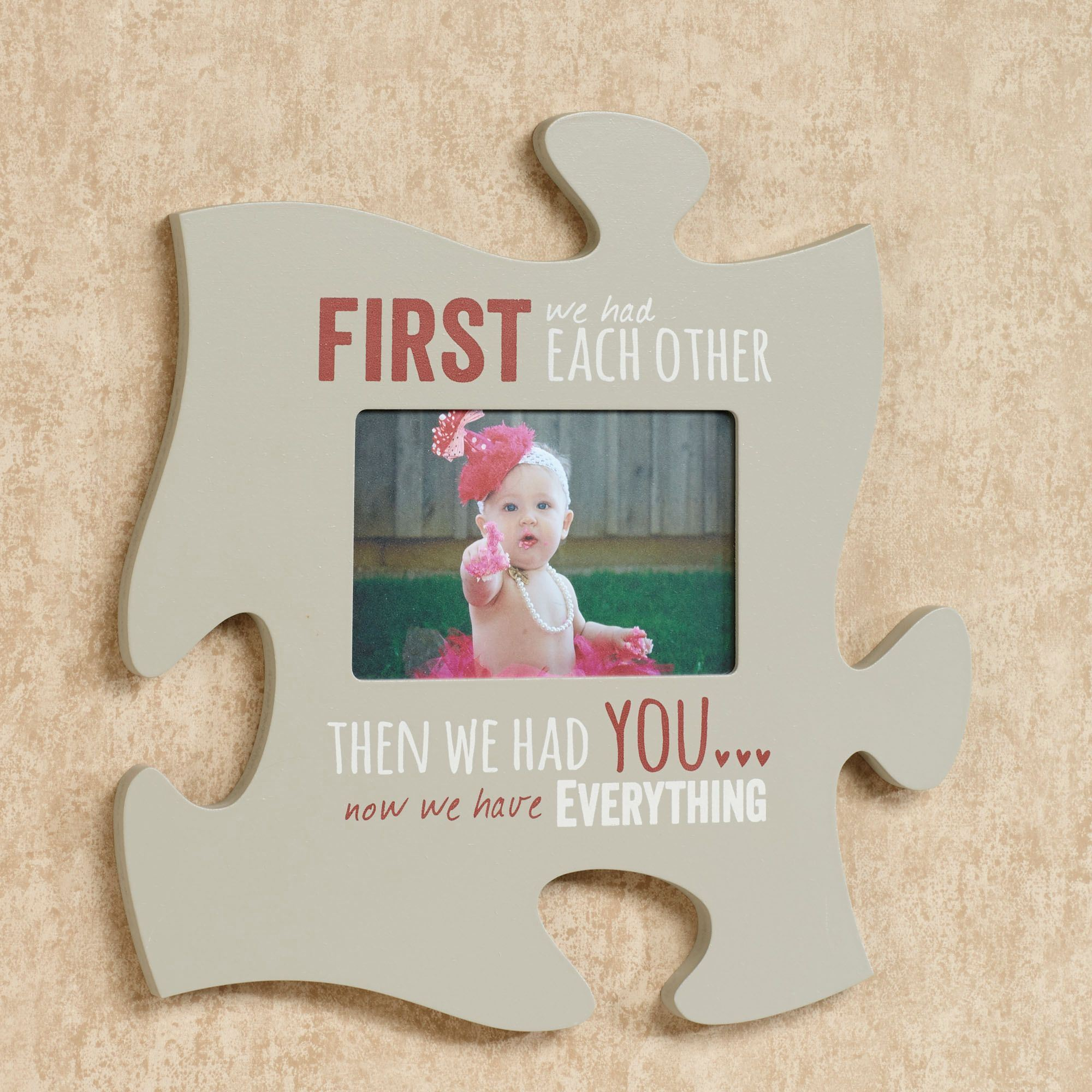 Every family photo frame puzzle piece wall art first we had quote photo frame gray jeuxipadfo Images