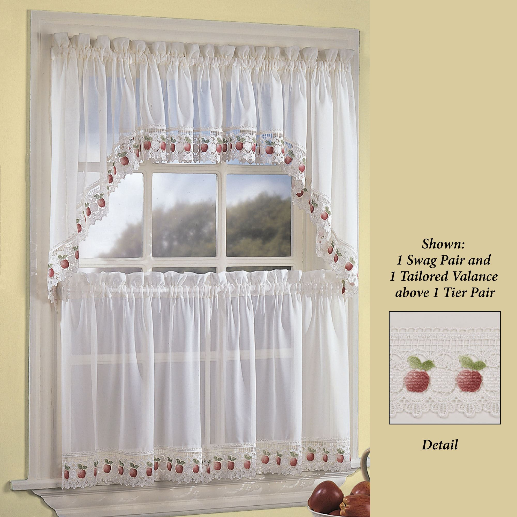 Apple Orchard Sheer Kitchen Tier Window Treatment