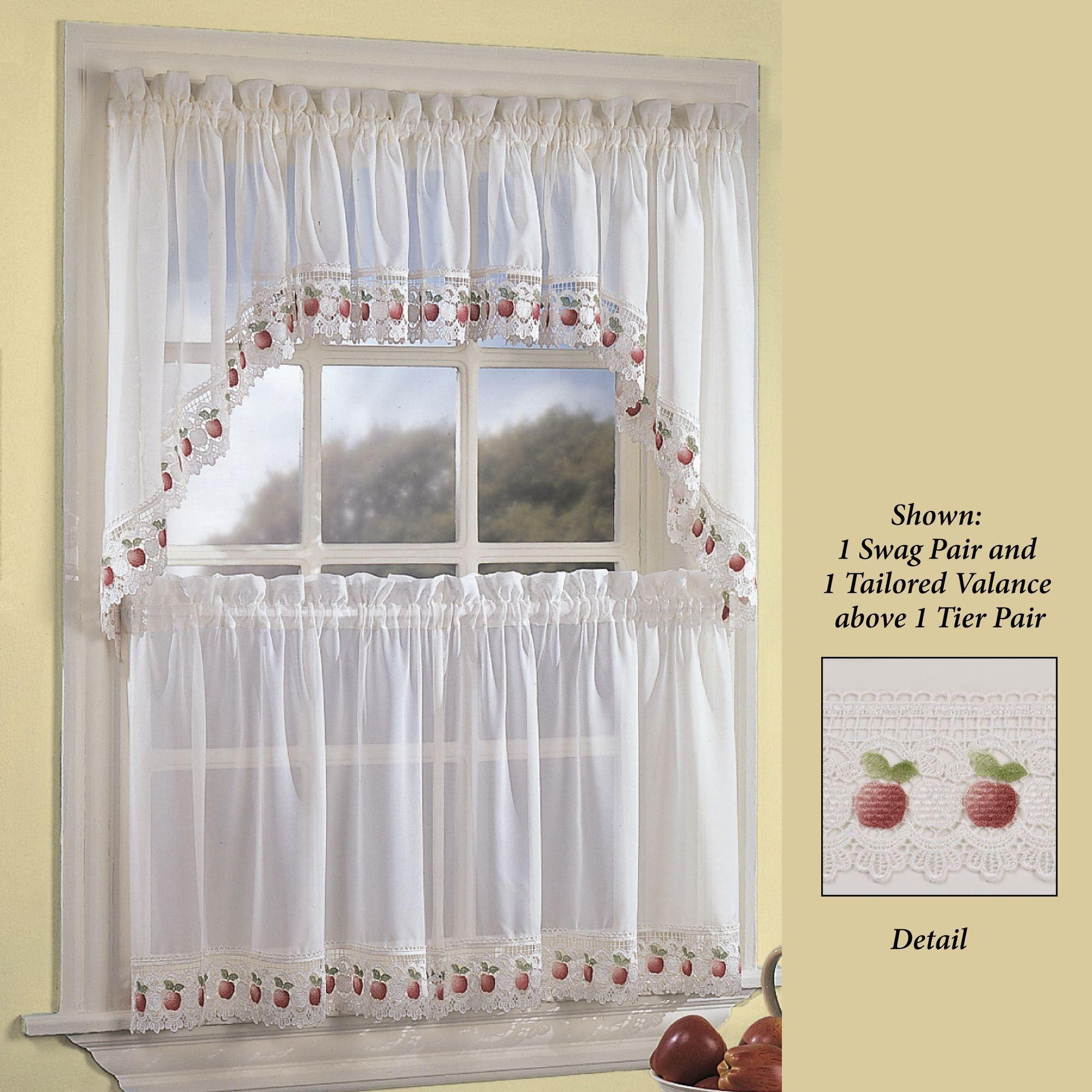 Groovy Apple Orchard Sheer Kitchen Tier Window Treatment Download Free Architecture Designs Scobabritishbridgeorg