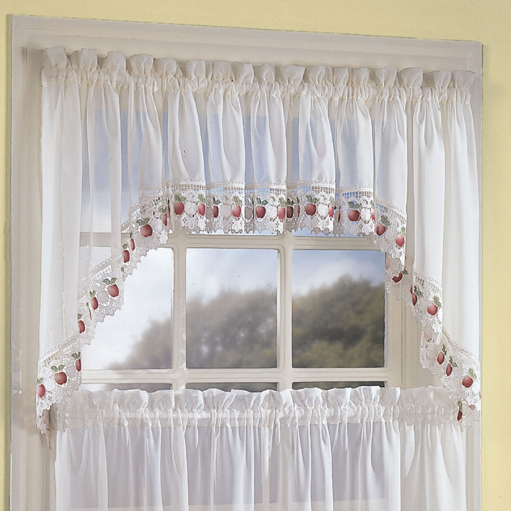 products lace sheer panel joy valance curtains attached ivory marburn w