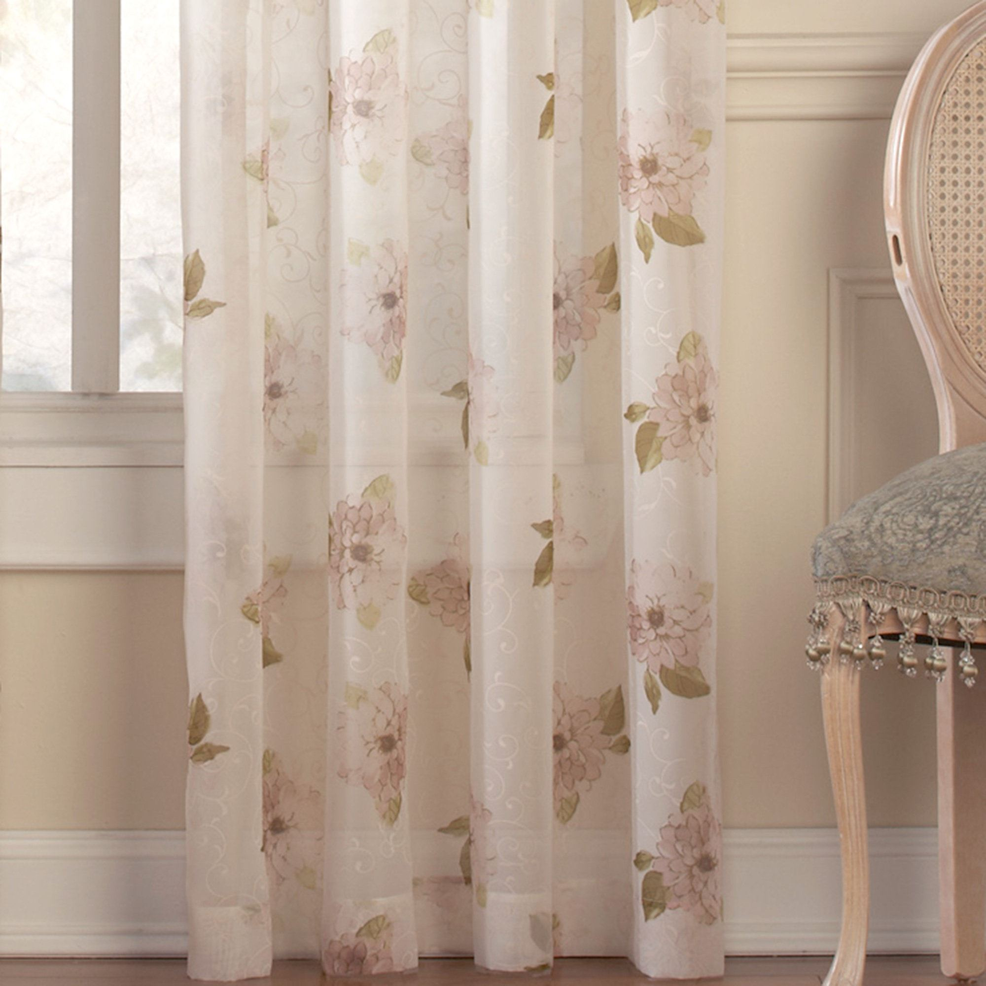Water Lily Floral Scroll Sheer Window Treatment