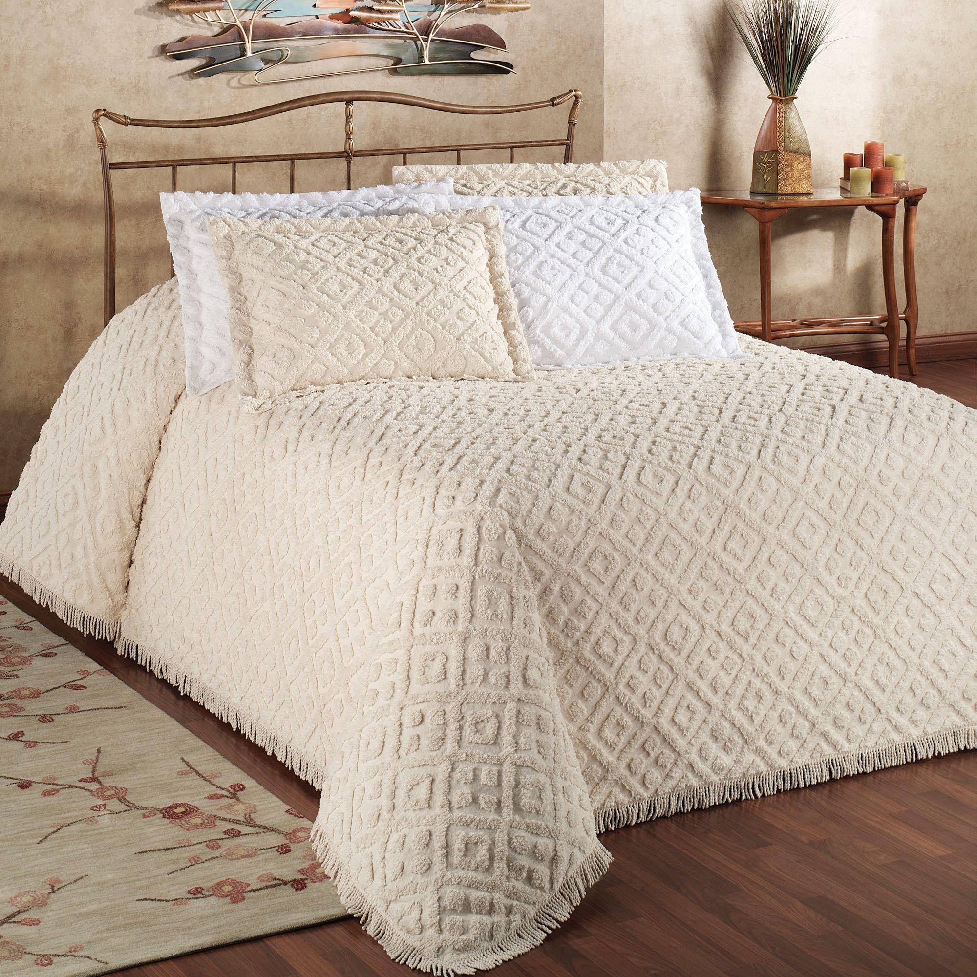 Diamond Cotton Chenille Bedspread Bedding