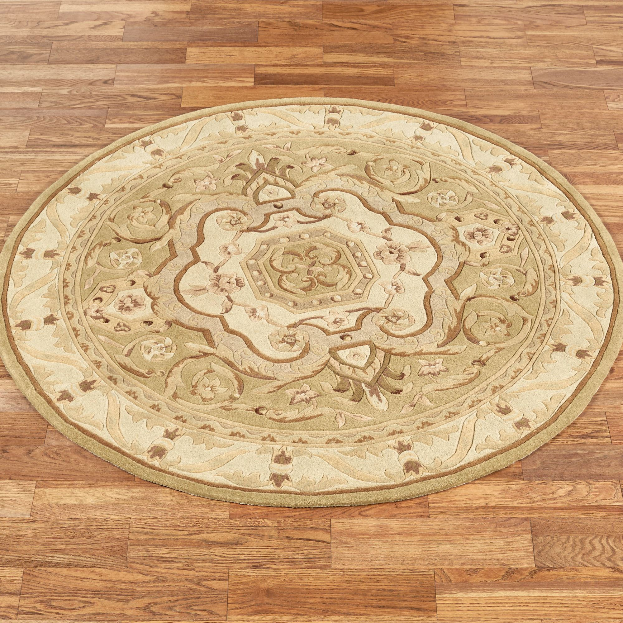 French Legacy Antique Gold Round Rug
