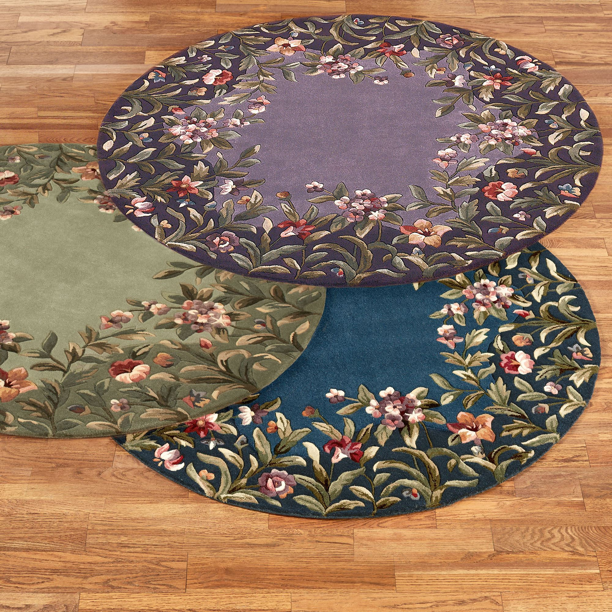 Felisha Floral Border Round Rugs