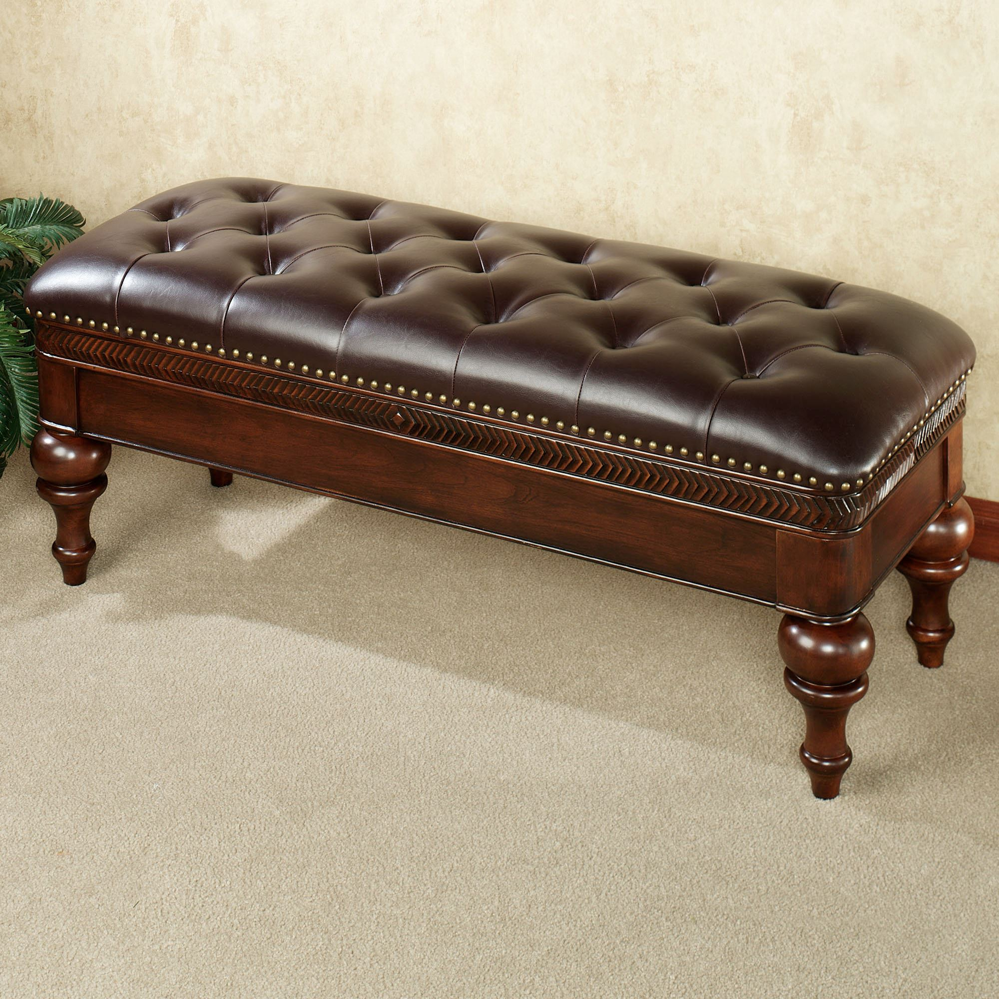 McClaren Faux Leather Bench Regal Walnut. Touch To Zoom