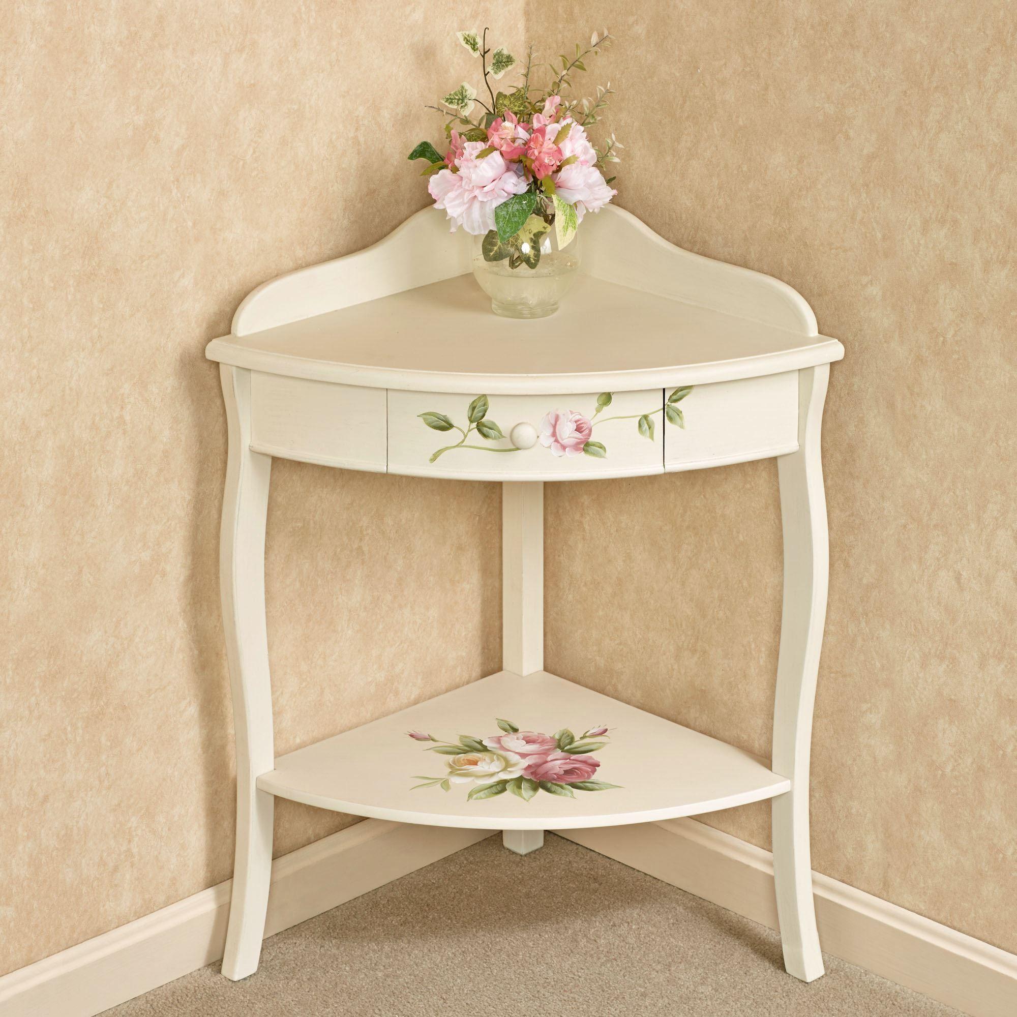 Rosalinde Light Cream Floral Corner Table