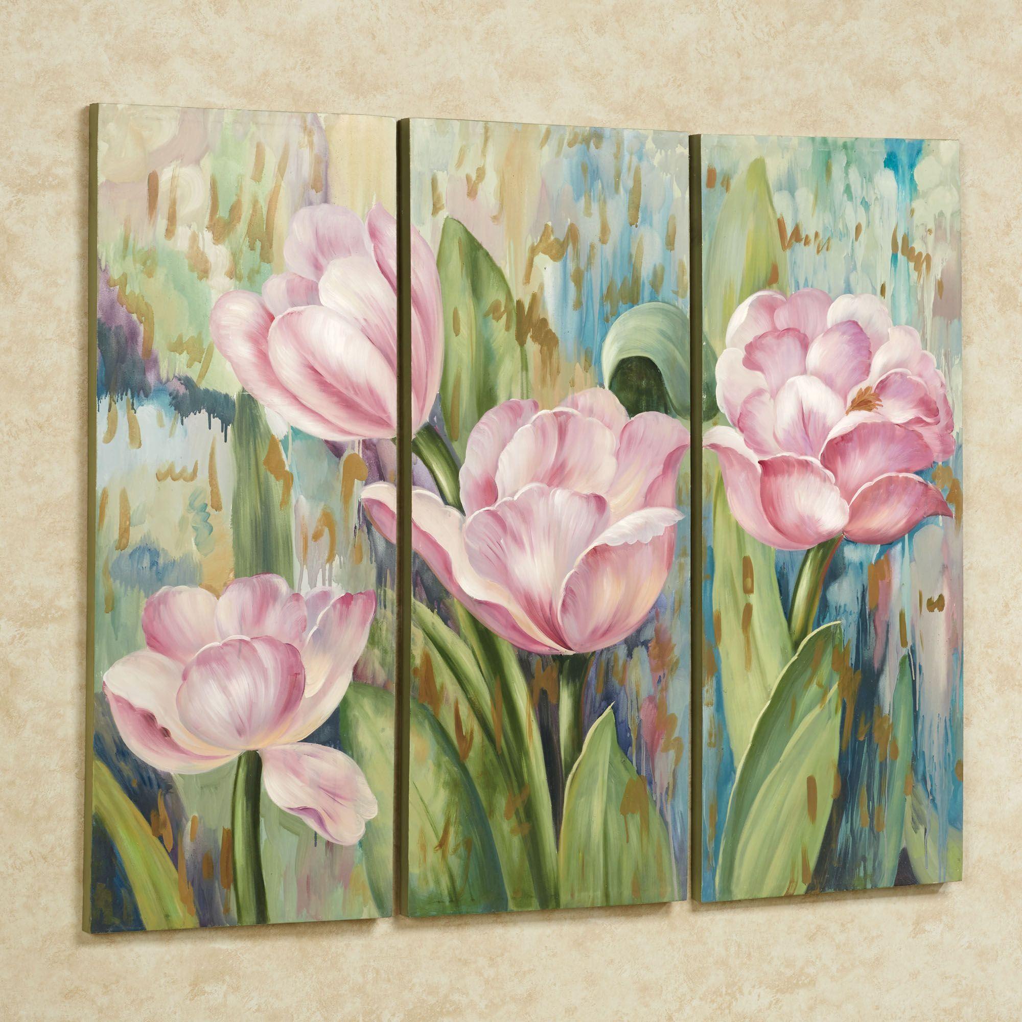 Jasmiene Tulip Floral Triptych Canvas Art Set