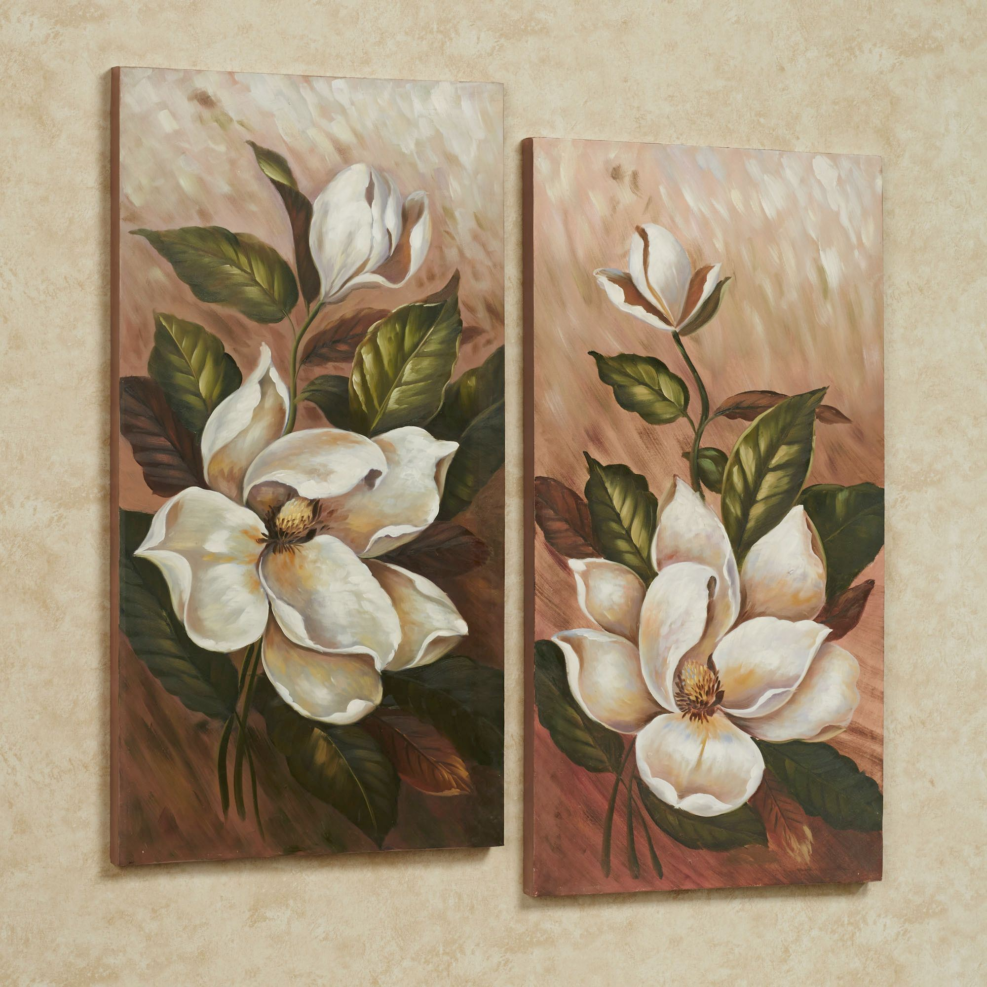 Annalynn magnolia floral canvas wall art set for Flower paintings on canvas