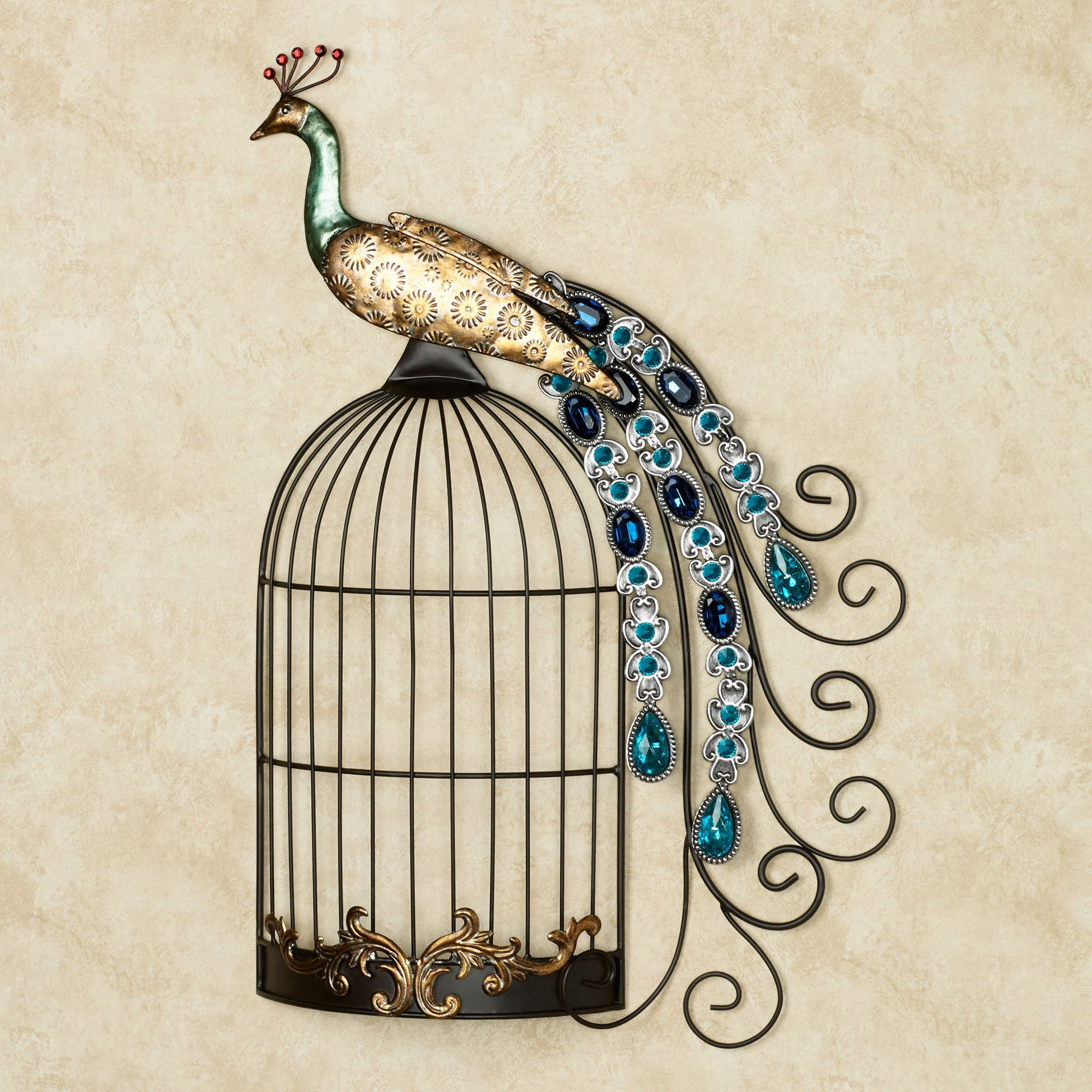 Peacock Wall Art Delectable Peacock Jewels On Cage Metal Wall Art Decorating Inspiration