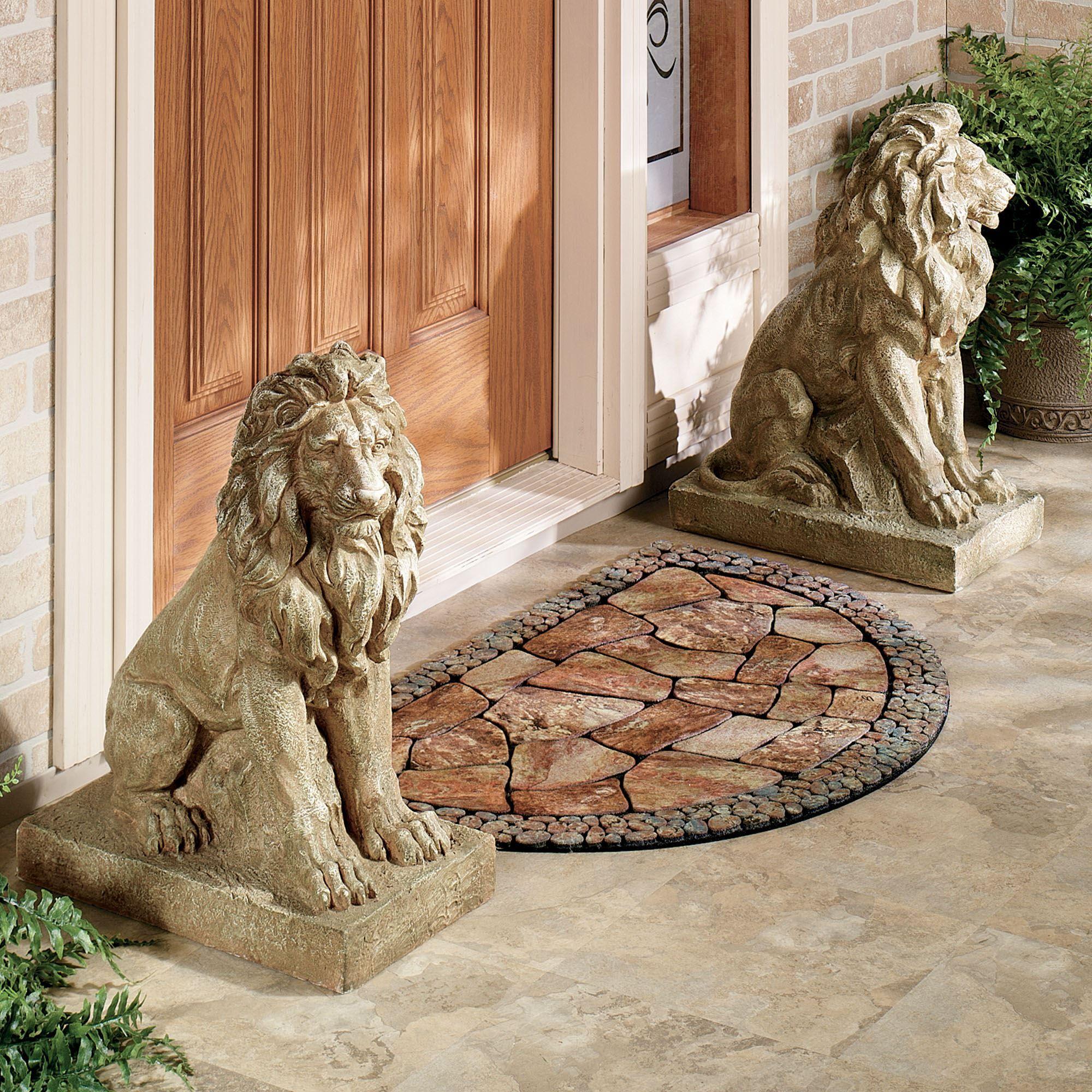 Lions At Guard Indoor Outdoor Sculpture Pair