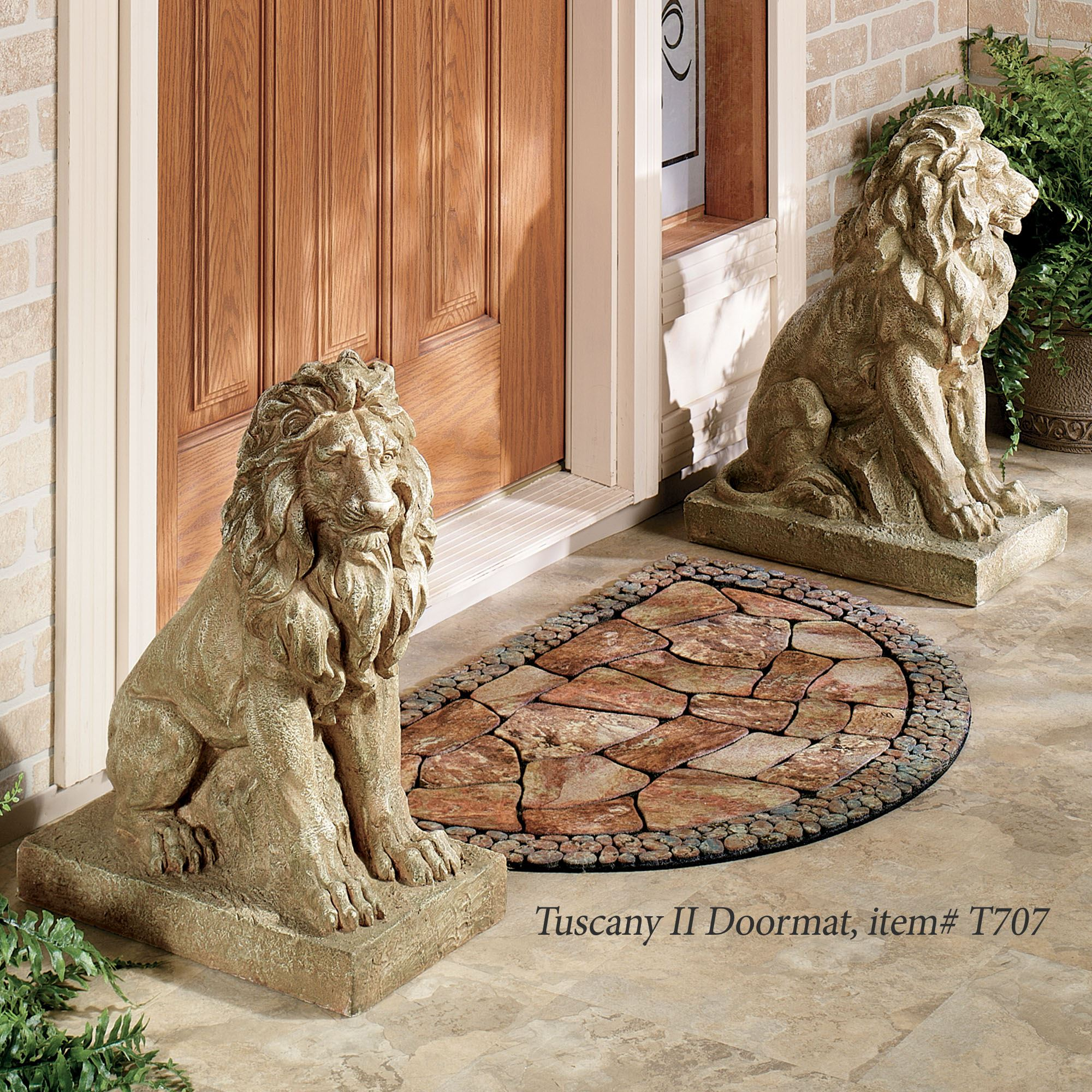 Lions At Guard Indoor Outdoor Sculpture Pair