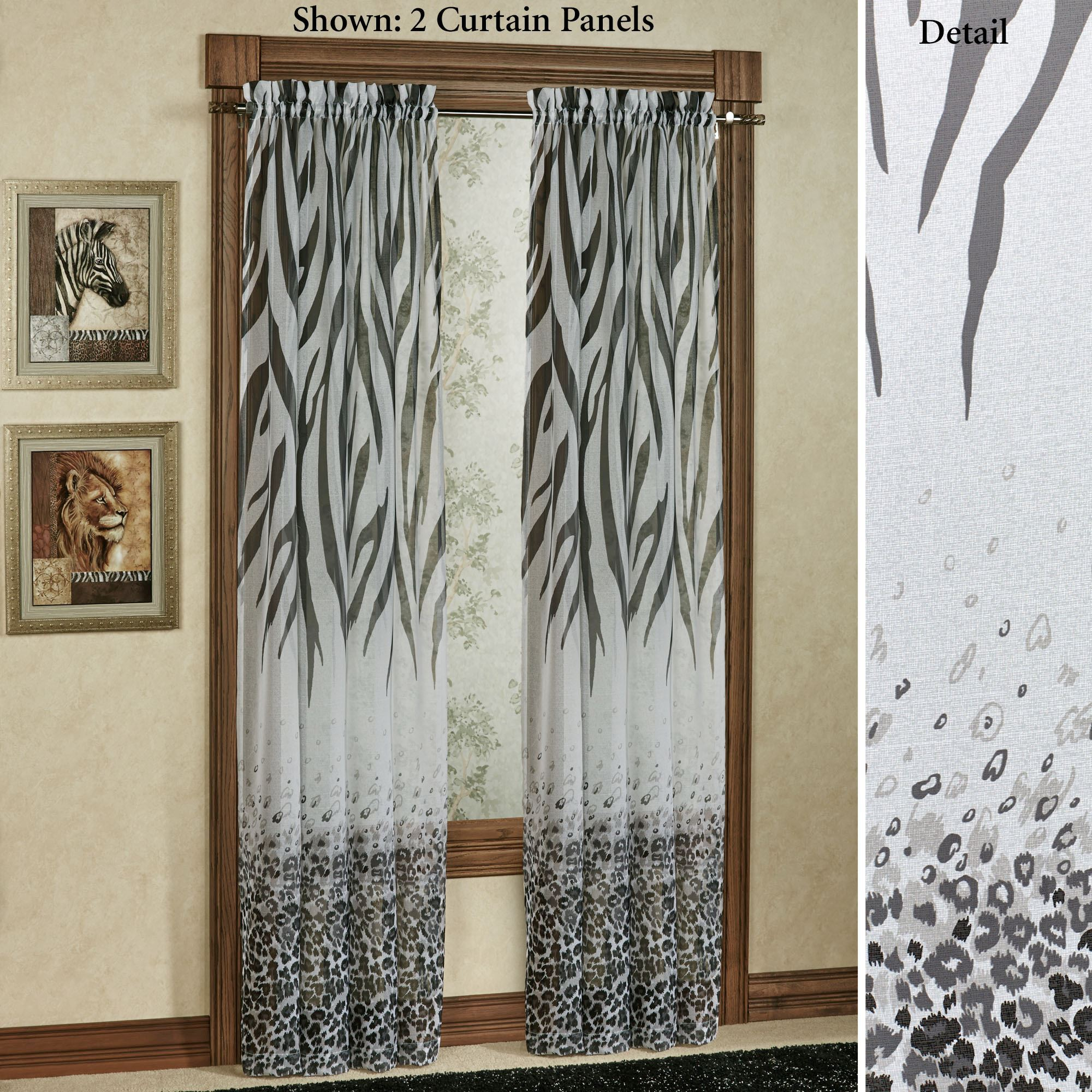 Kenya Safari Black Animal Print Semi Sheer Curtain Panels