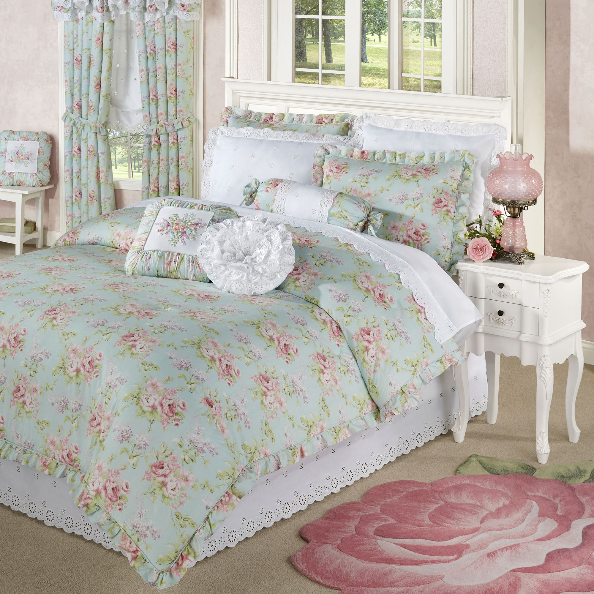 Cottage Rose Aqua Mist Floral Comforter Bedding