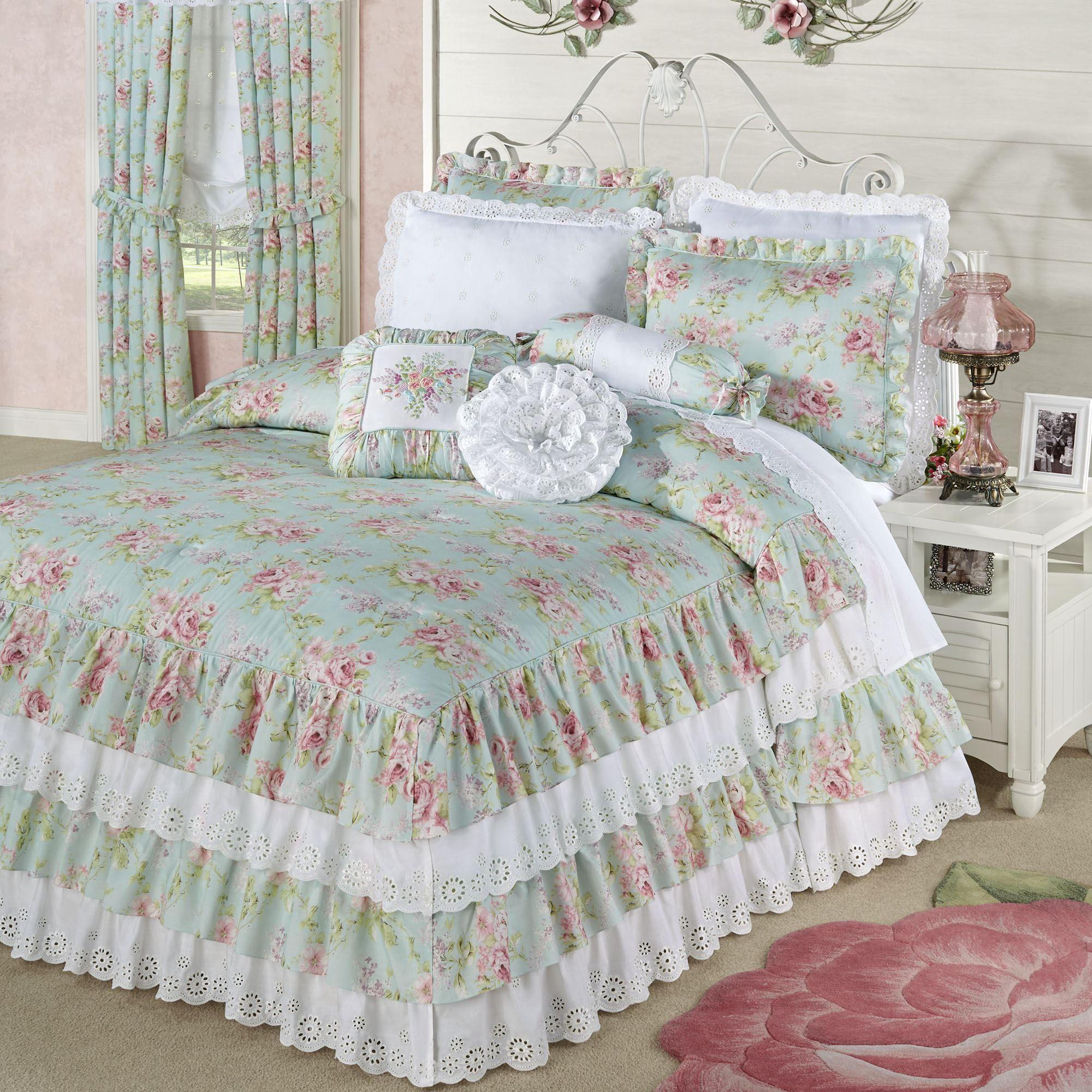 Cottage Rose Aqua Mist Floral Grande Ruffled Bedspread Bedding