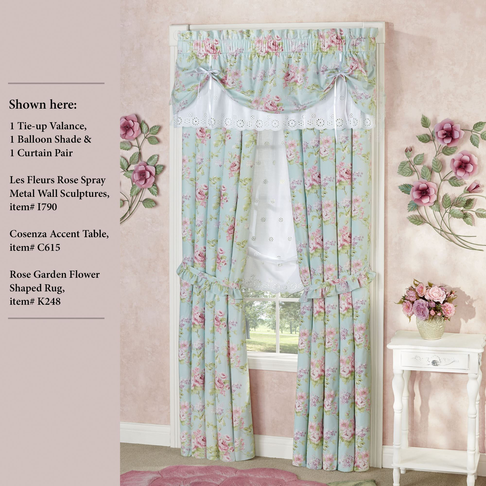 Cottage Style Window Treatments Cottage Style Window: Cottage Rose Tie Up Valance Floral Window Treatment