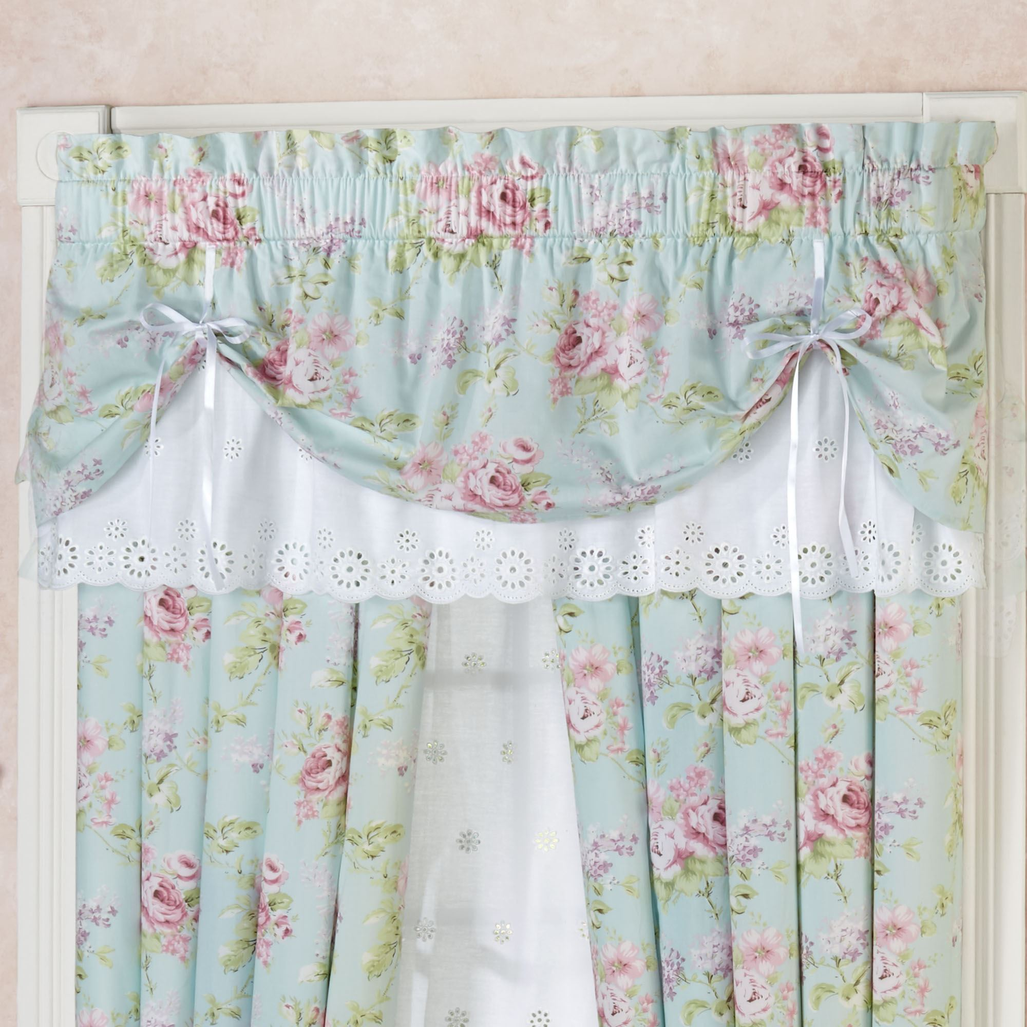 Cottage Rose Tie Up Valance Floral Window Treatment