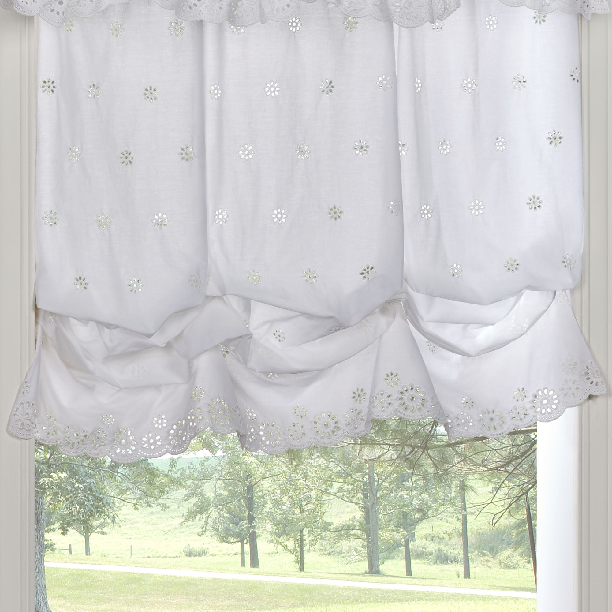 Cottage Rose White Eyelet Balloon Window Shade