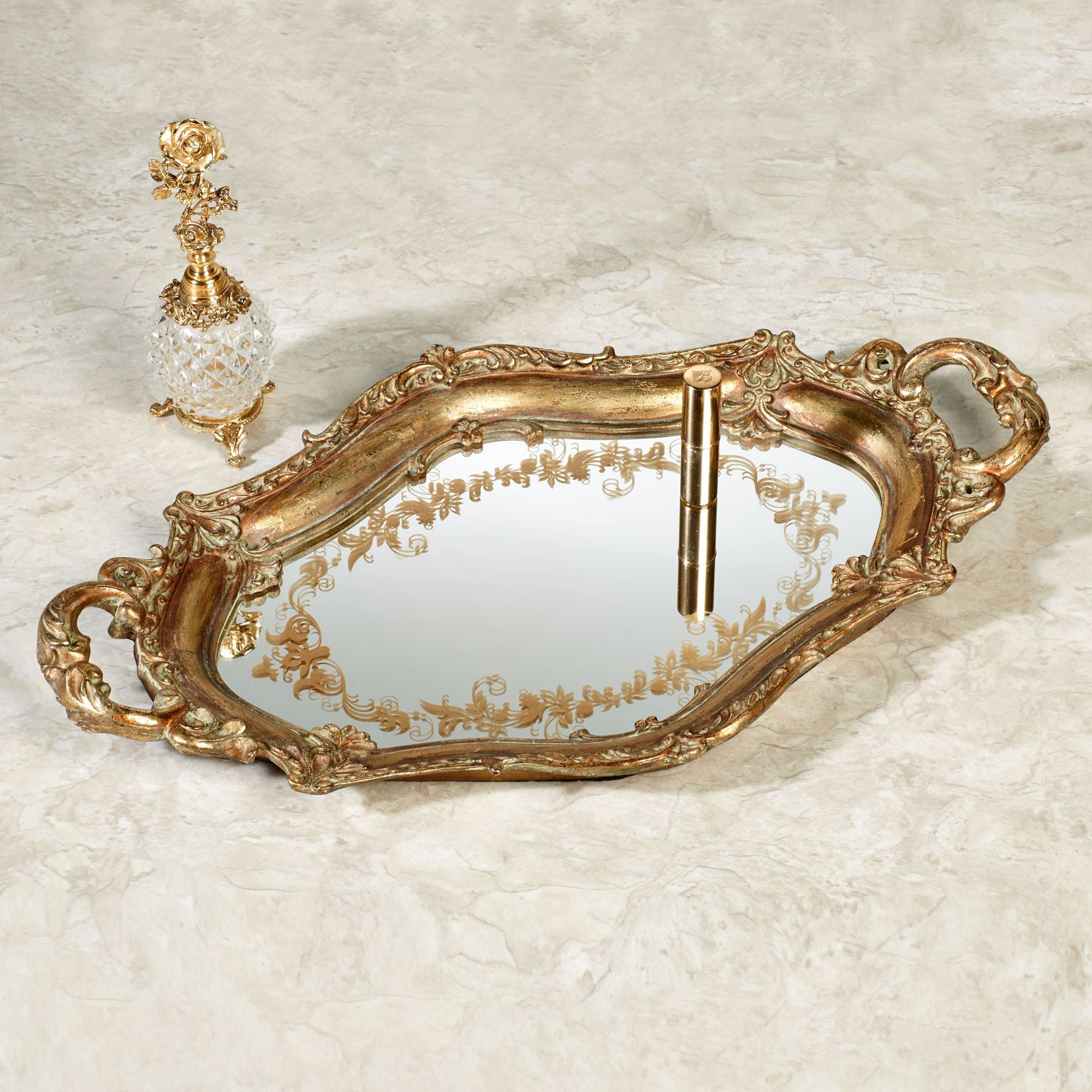 tray decorating mirrored pineapple and vanity mirror gold design grandeur home serving