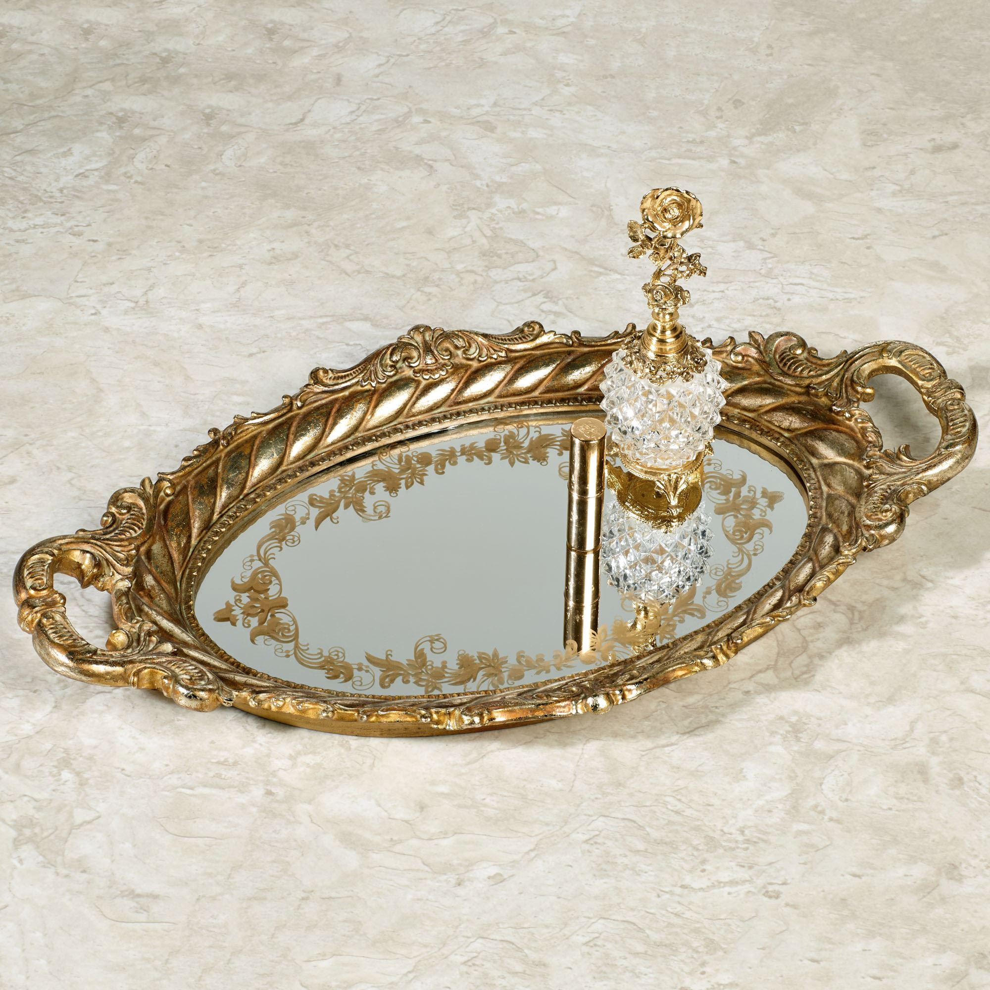 Maryann Baroque Gold Oval Mirrored Vanity Tray