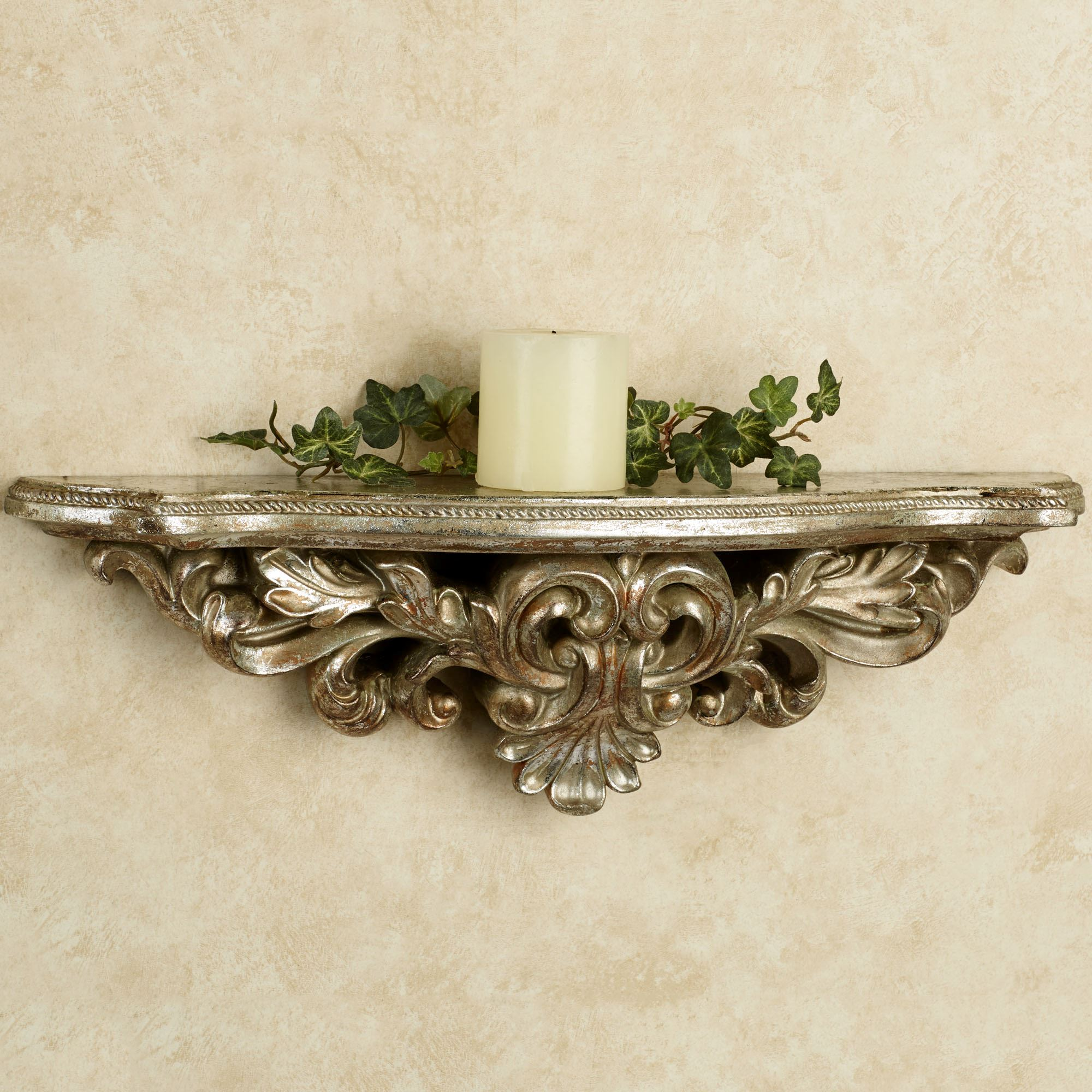 Decorative wall shelves touch of class elisa silver gold decorative wall shelf amipublicfo Images