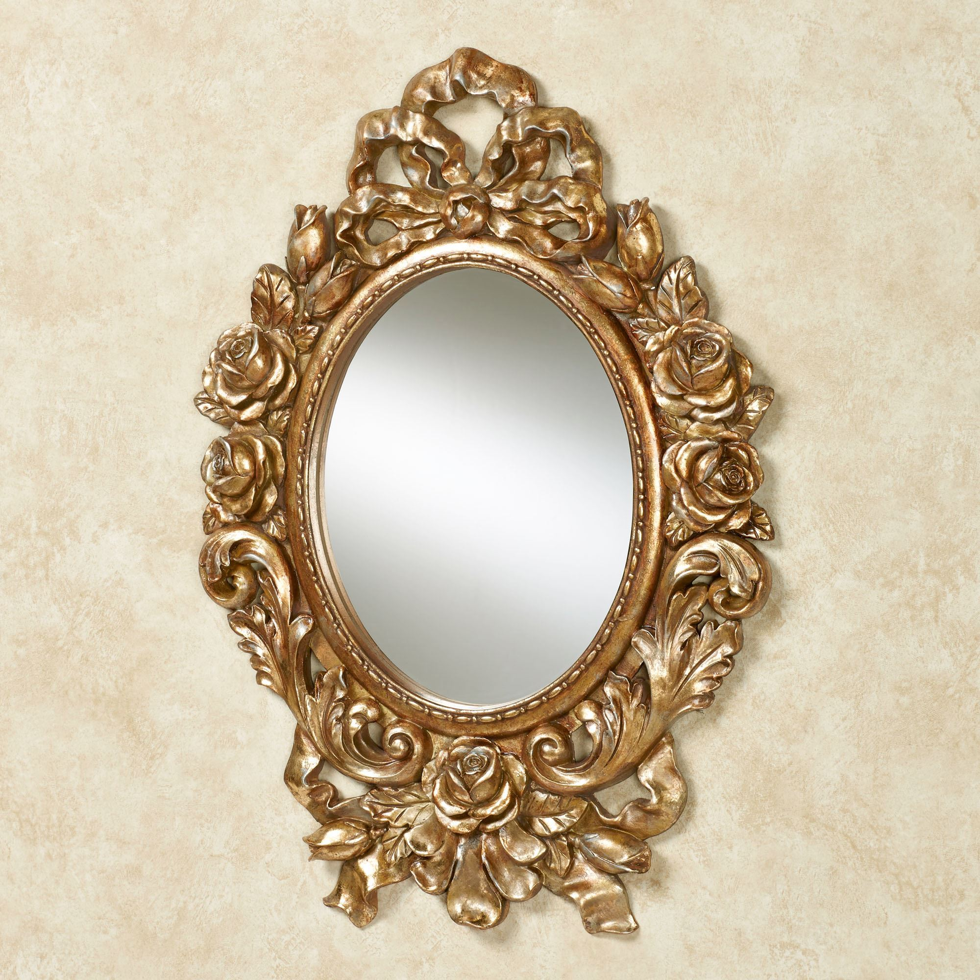 Oval wall mirrors eileen rose and ribbon gold oval wall mirror jeuxipadfo Gallery