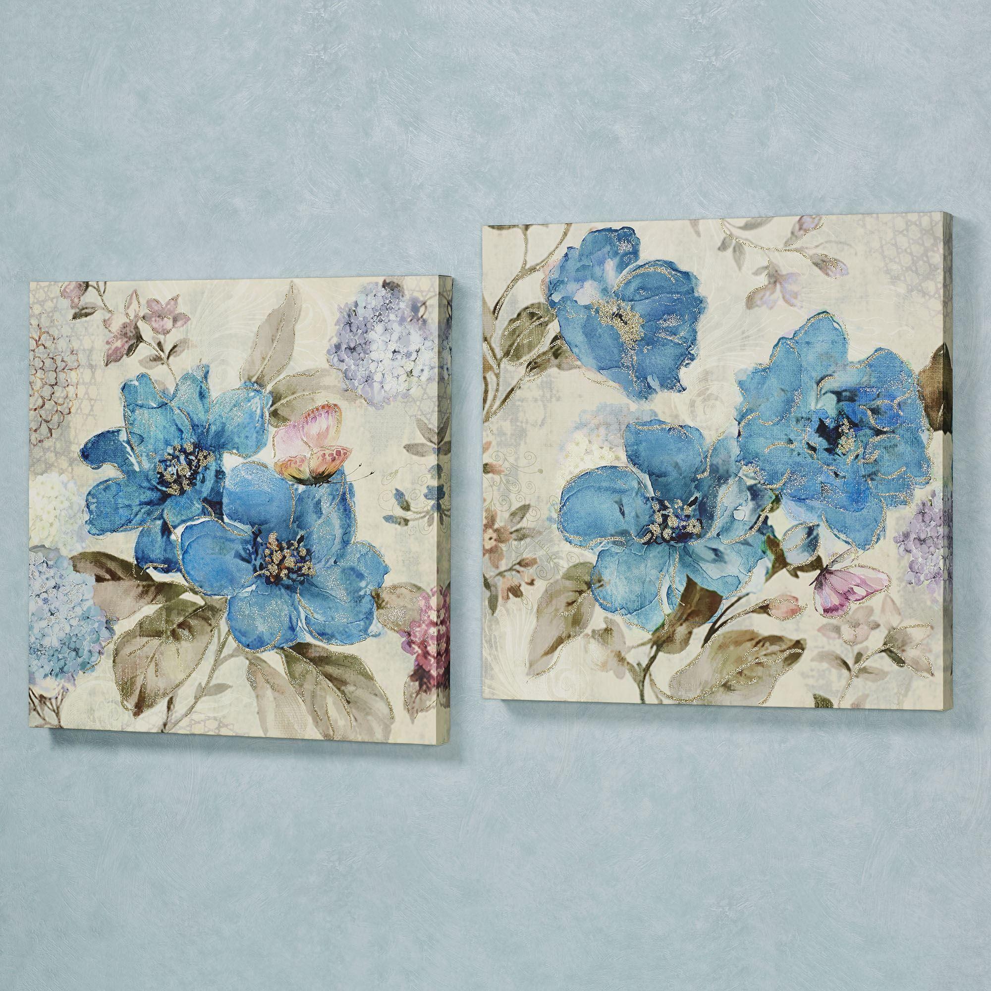 Blue Floral Delight Canvas Wall Art Set