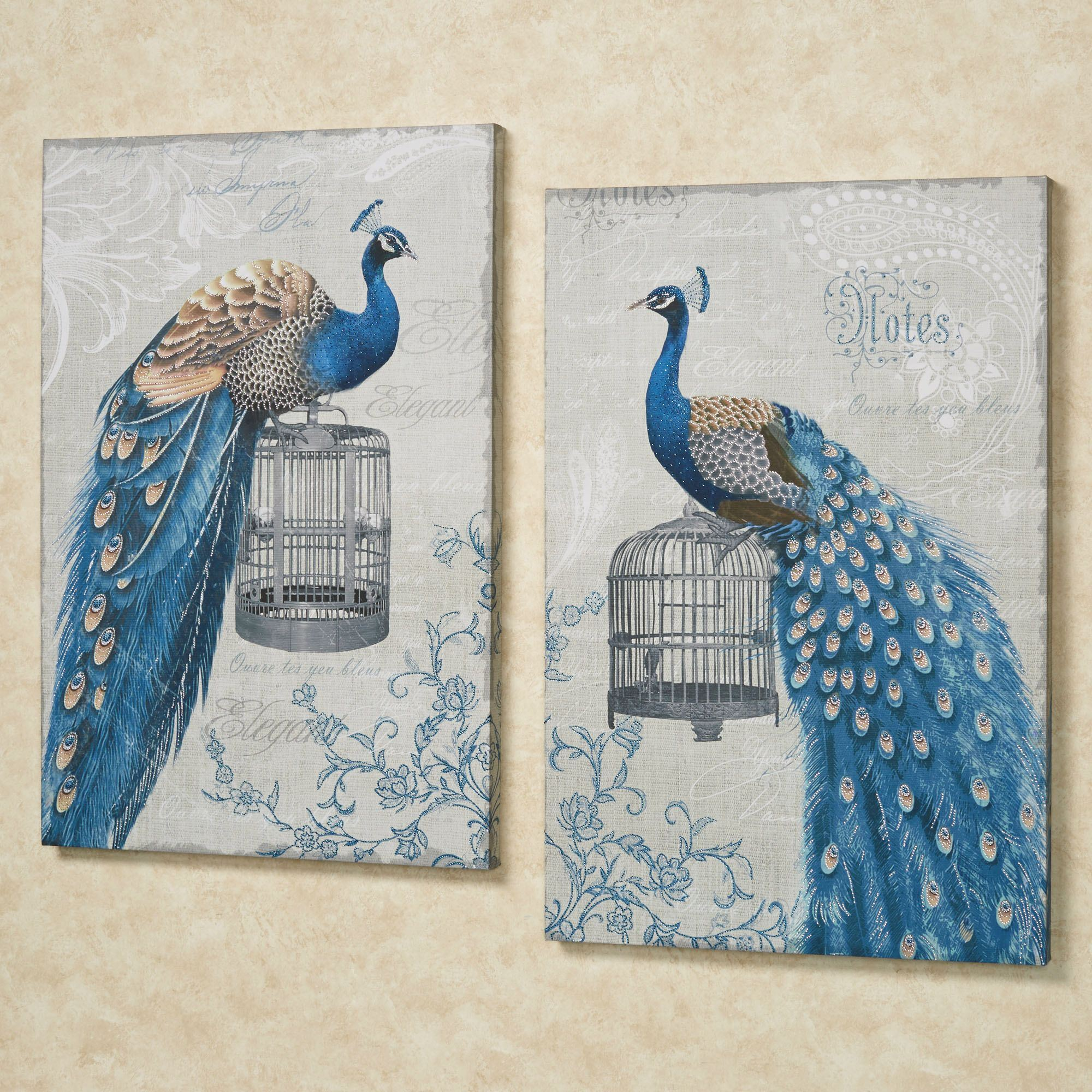 Regal Peacocks Canvas Wall Art. Click To Expand