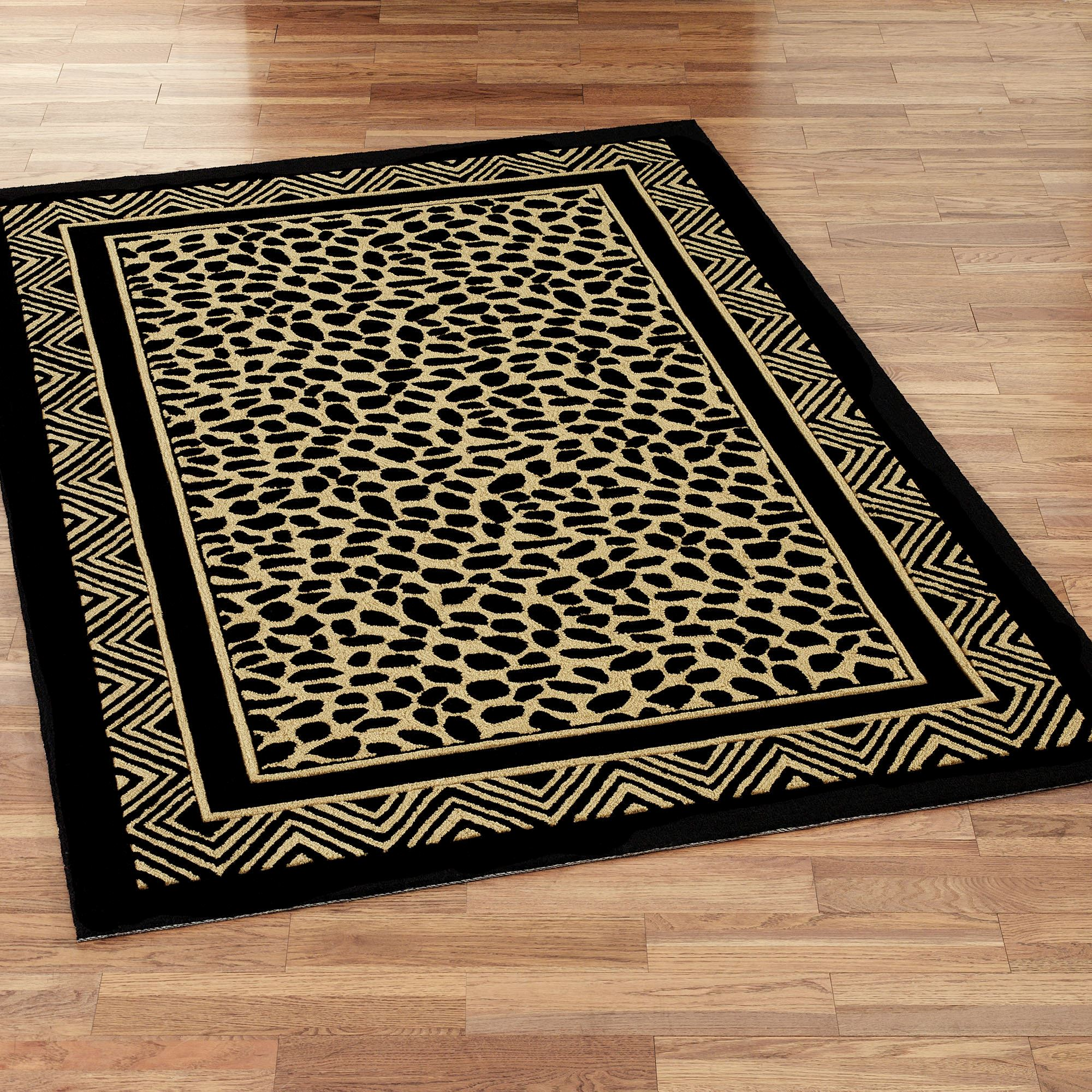 Wild Leopard Rectangle Rug Black Gold