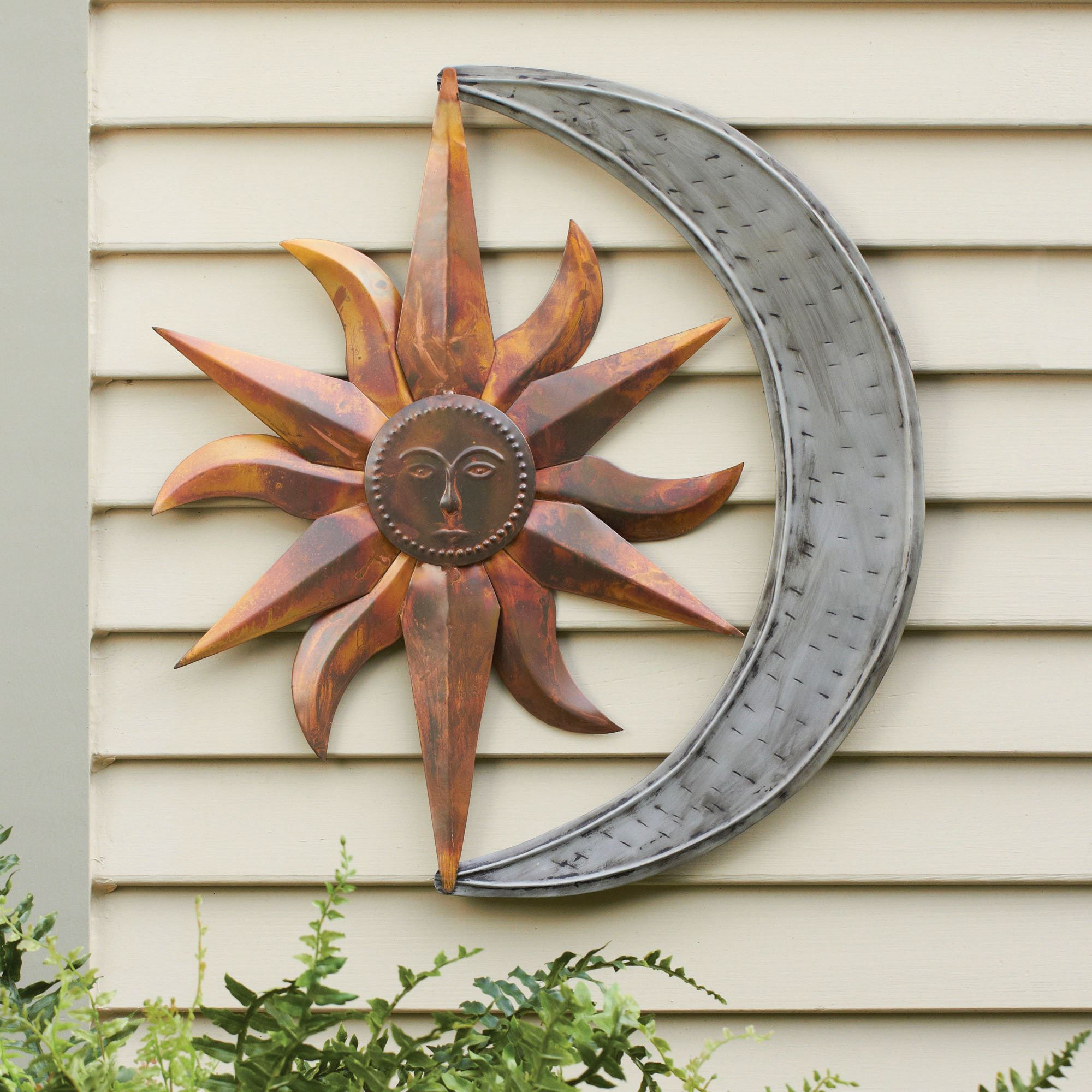 Sun and Moon Indoor Outdoor Metal Wall Art