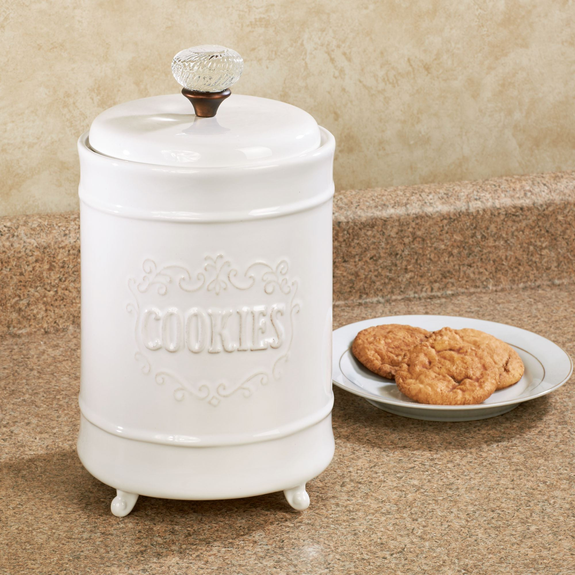 Cookie Jar with Lid White
