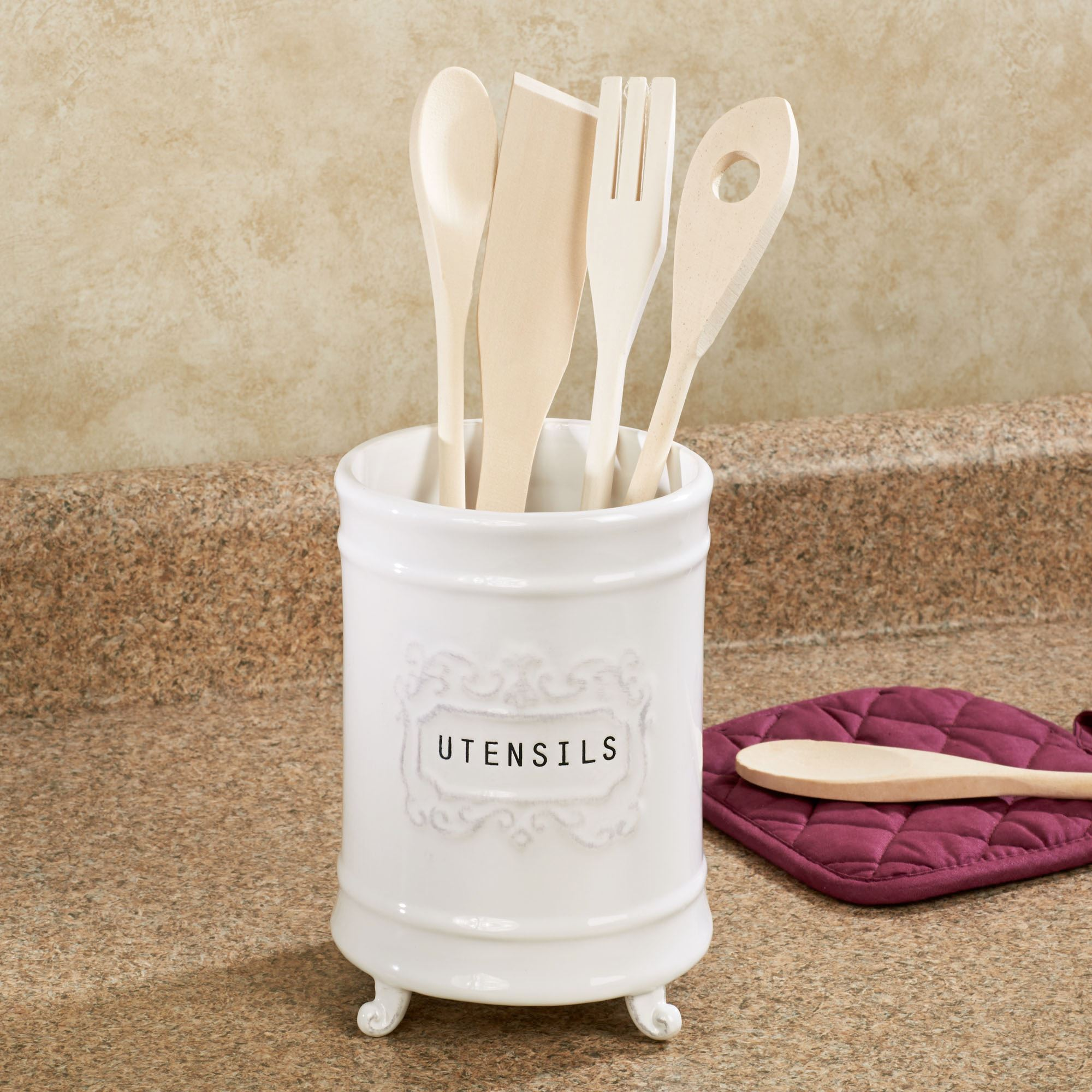Circa White Ceramic Kitchen Utensil Holder Thumbnail Image