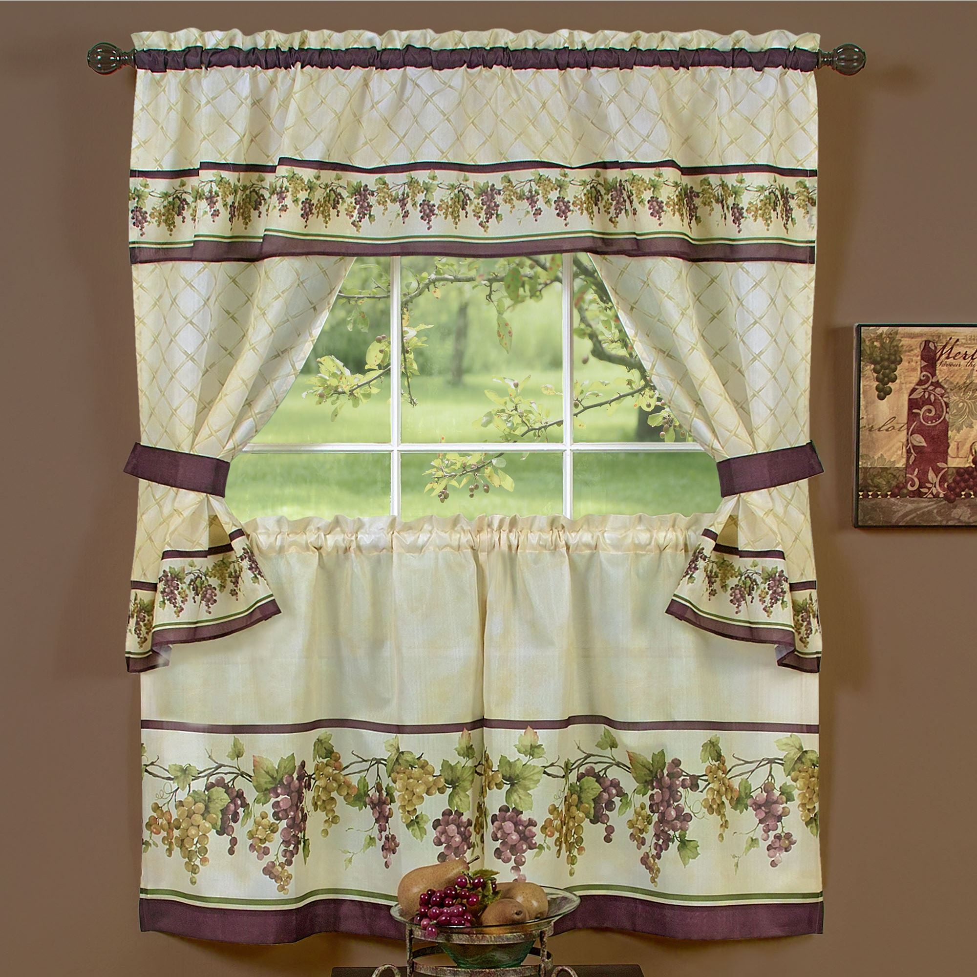 Tuscany grape kitchen window tier and valance set for Grapes furniture and home decor