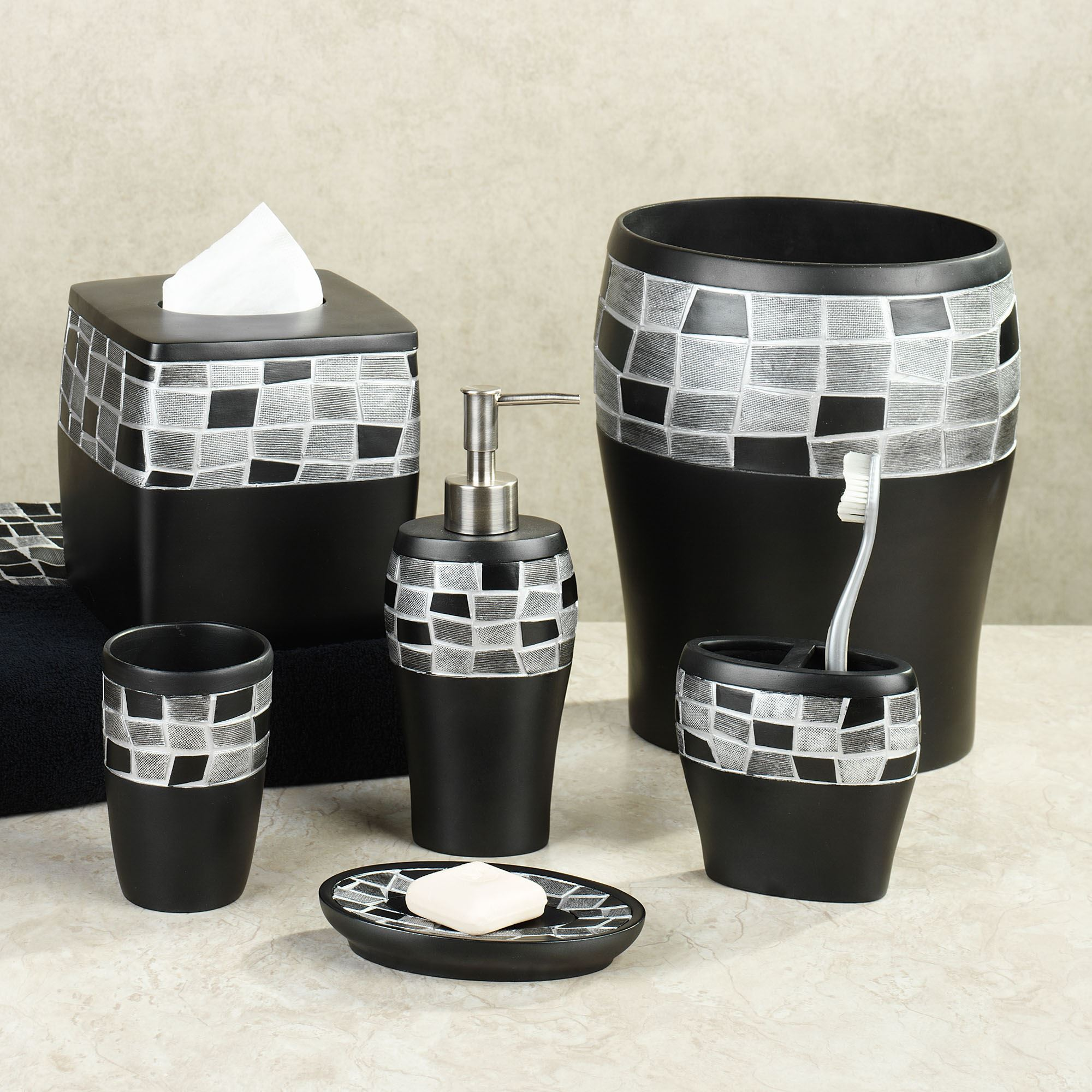 Black mosaic stone resin bath accessories for Red and black bathroom accessories sets