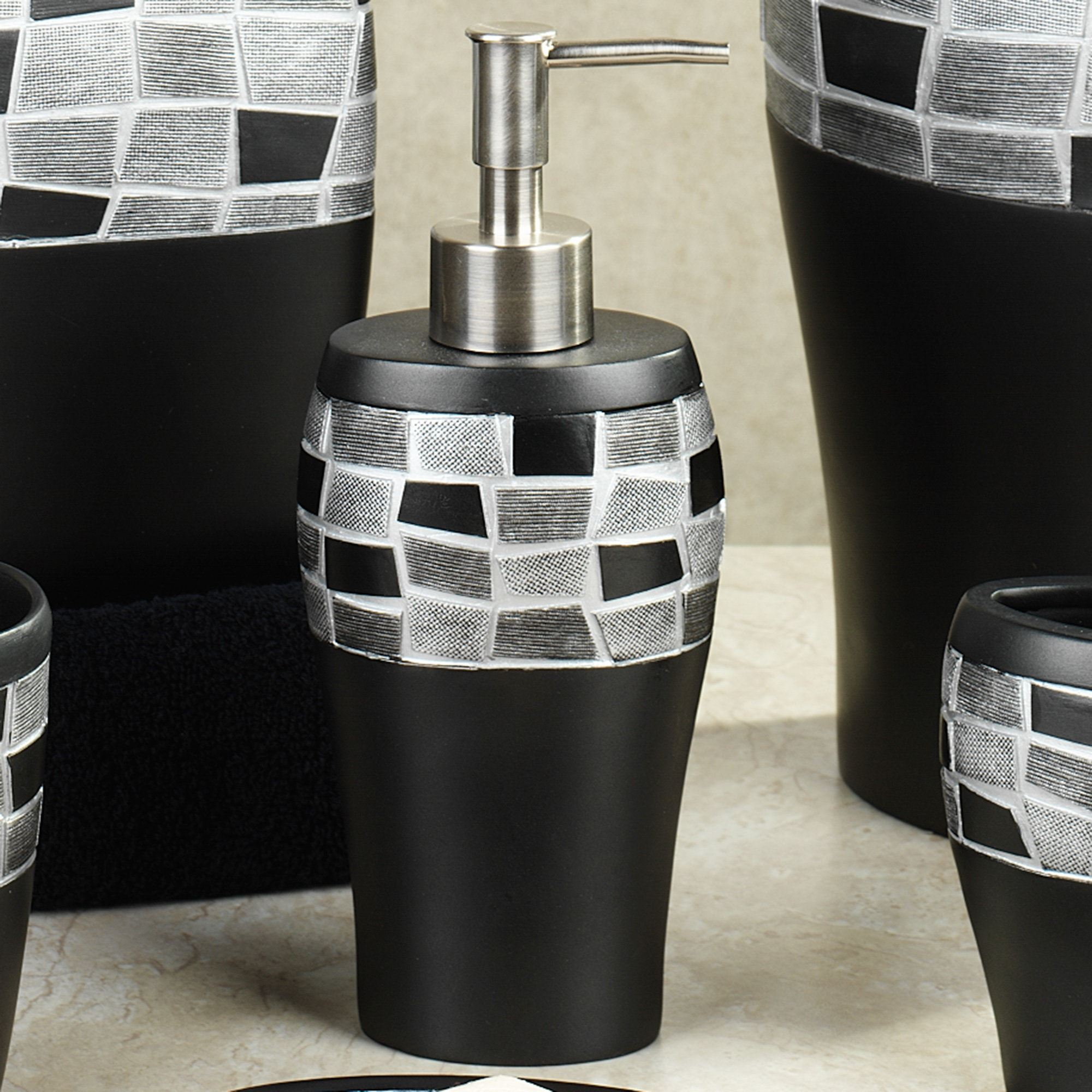 Black Mosaic Stone Lotion Soap Dispenser Resin Bath Accessories