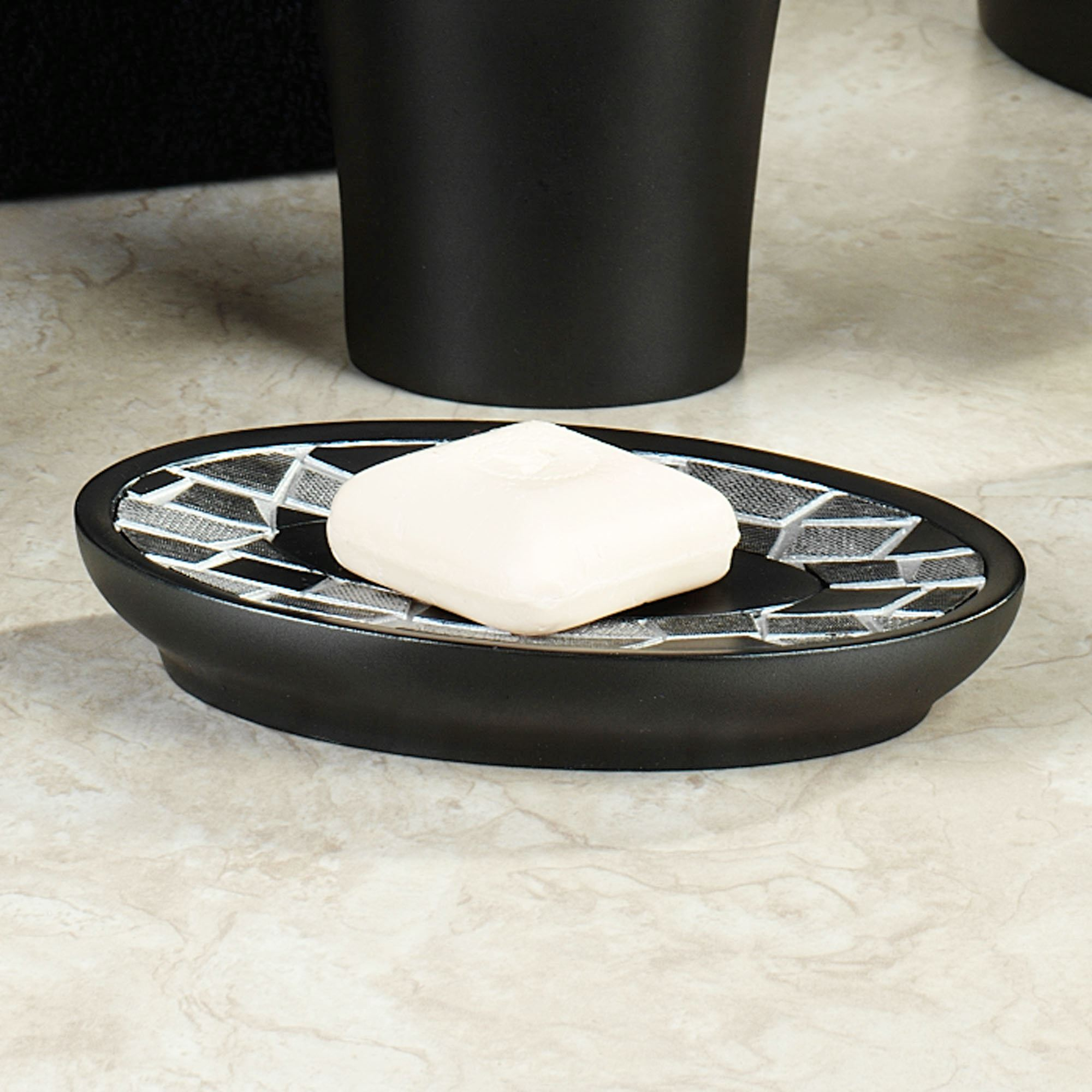 Black Mosaic Stone Soap Dish Resin Bath Accessories