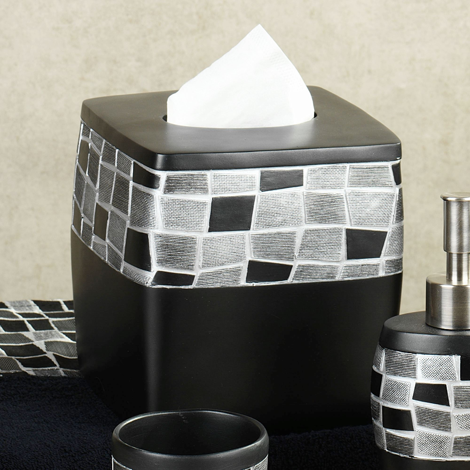 black mosaic bathroom accessories. Black Mosaic Stone Tissue Cover Resin Bath Accessories