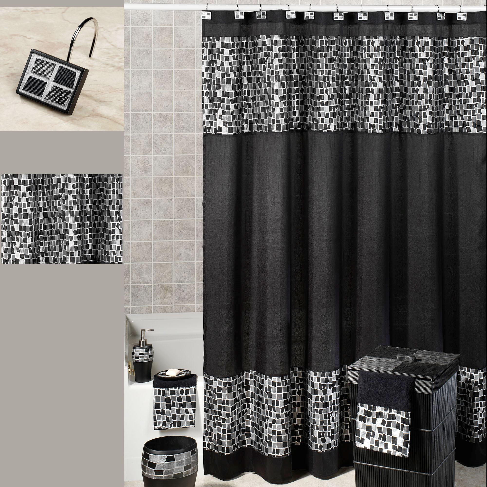Black Mosaic Stone Shower Curtain 70 X 72