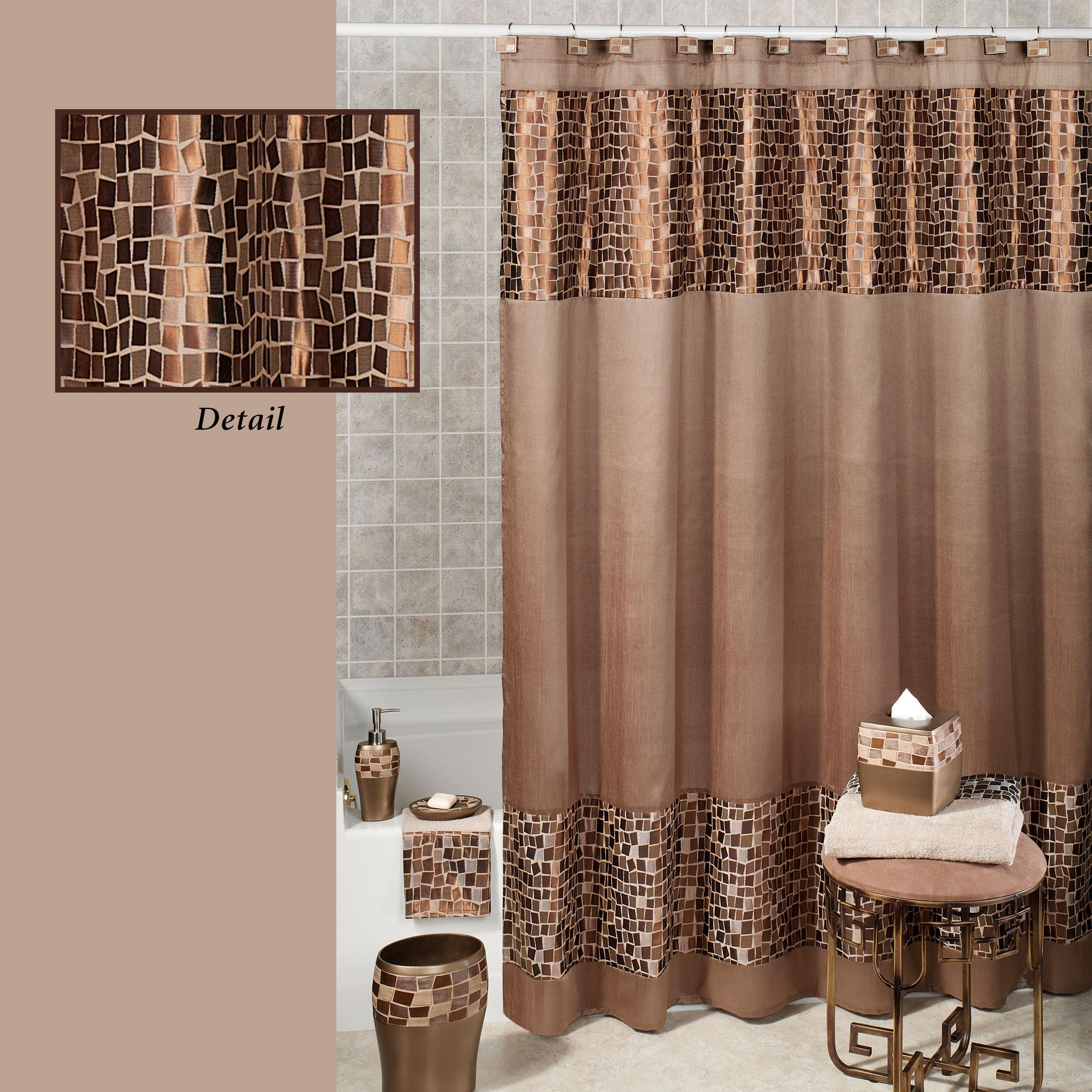 Bronze Mosaic Stone Shower Curtain 70 X 72