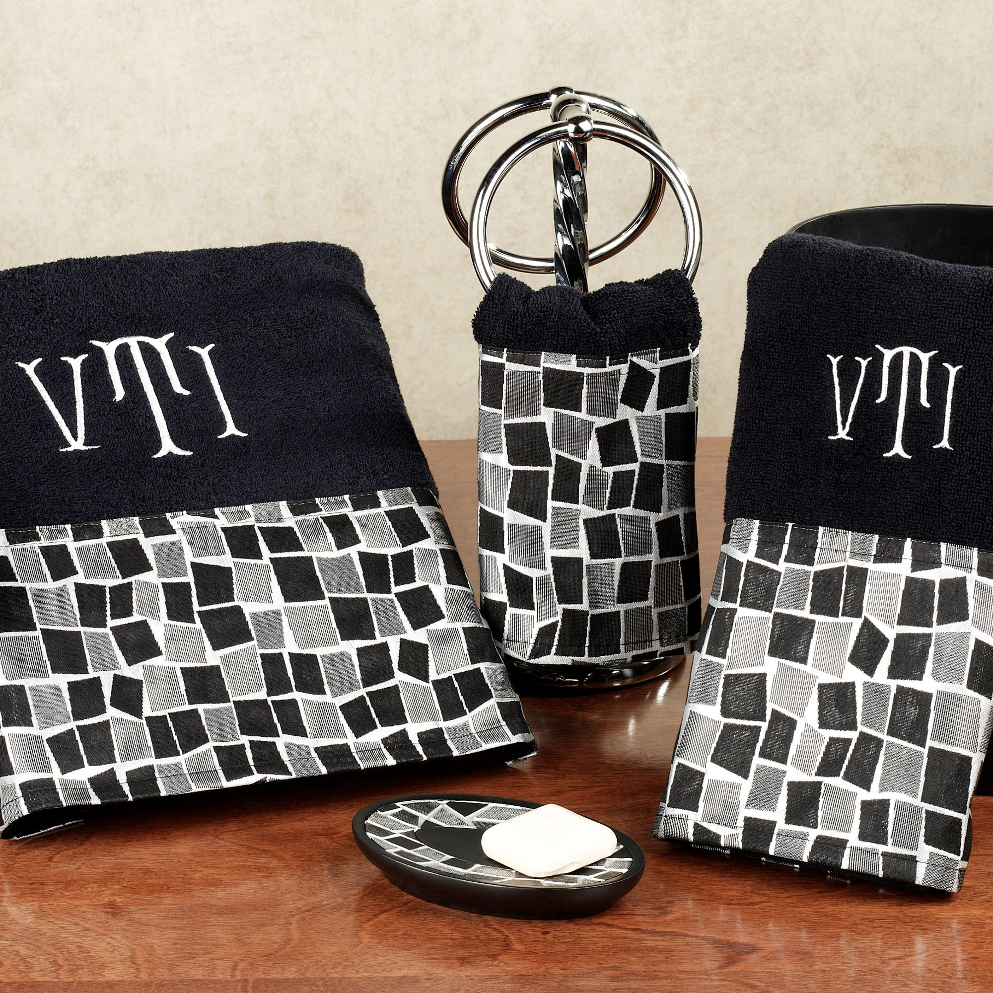 Black Mosaic Stone Towel Set Bath Hand Wash Resin Accessories