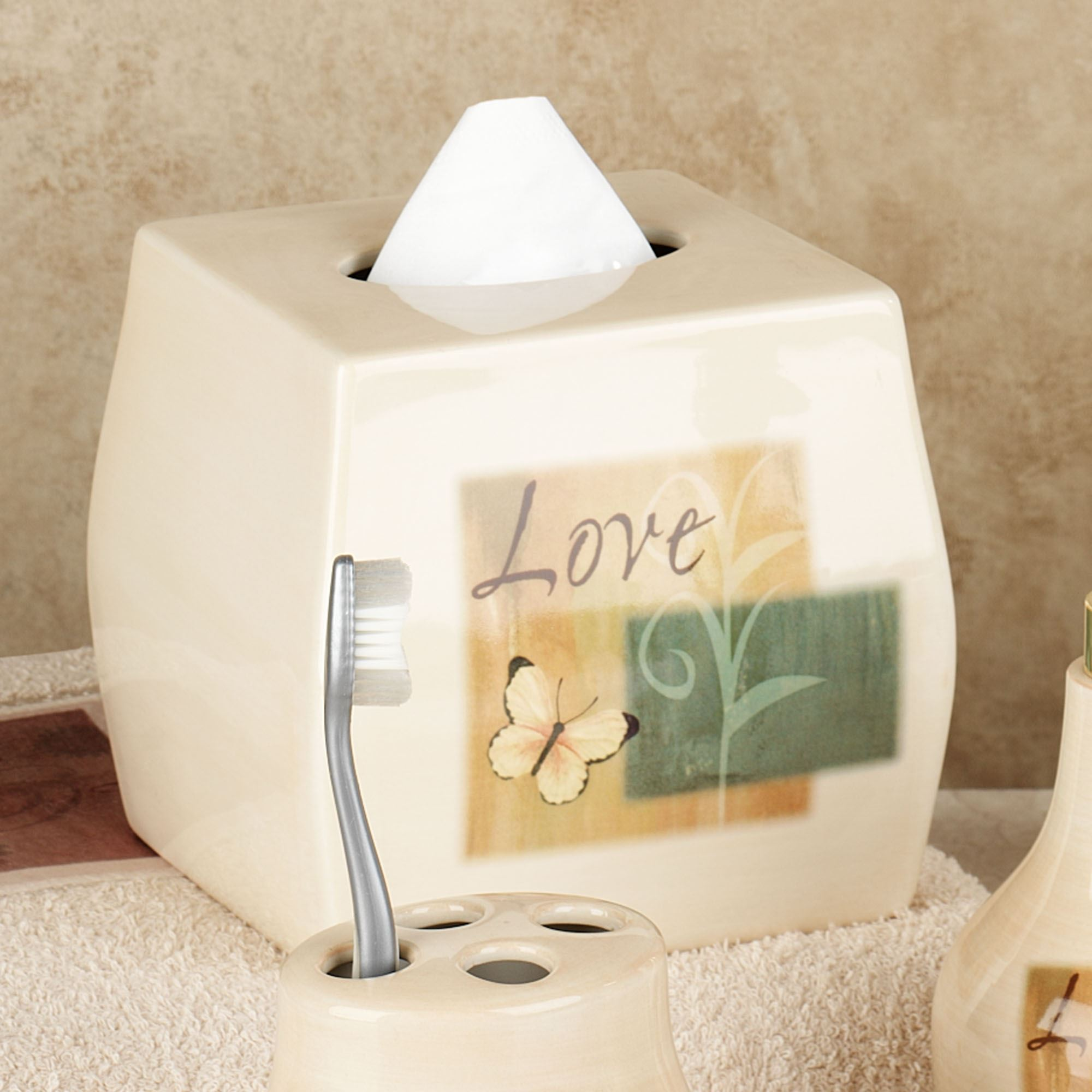 Tranquility Inspirational Bath Accessories Lotion Soap Dispenser Beige Touch To Zoom